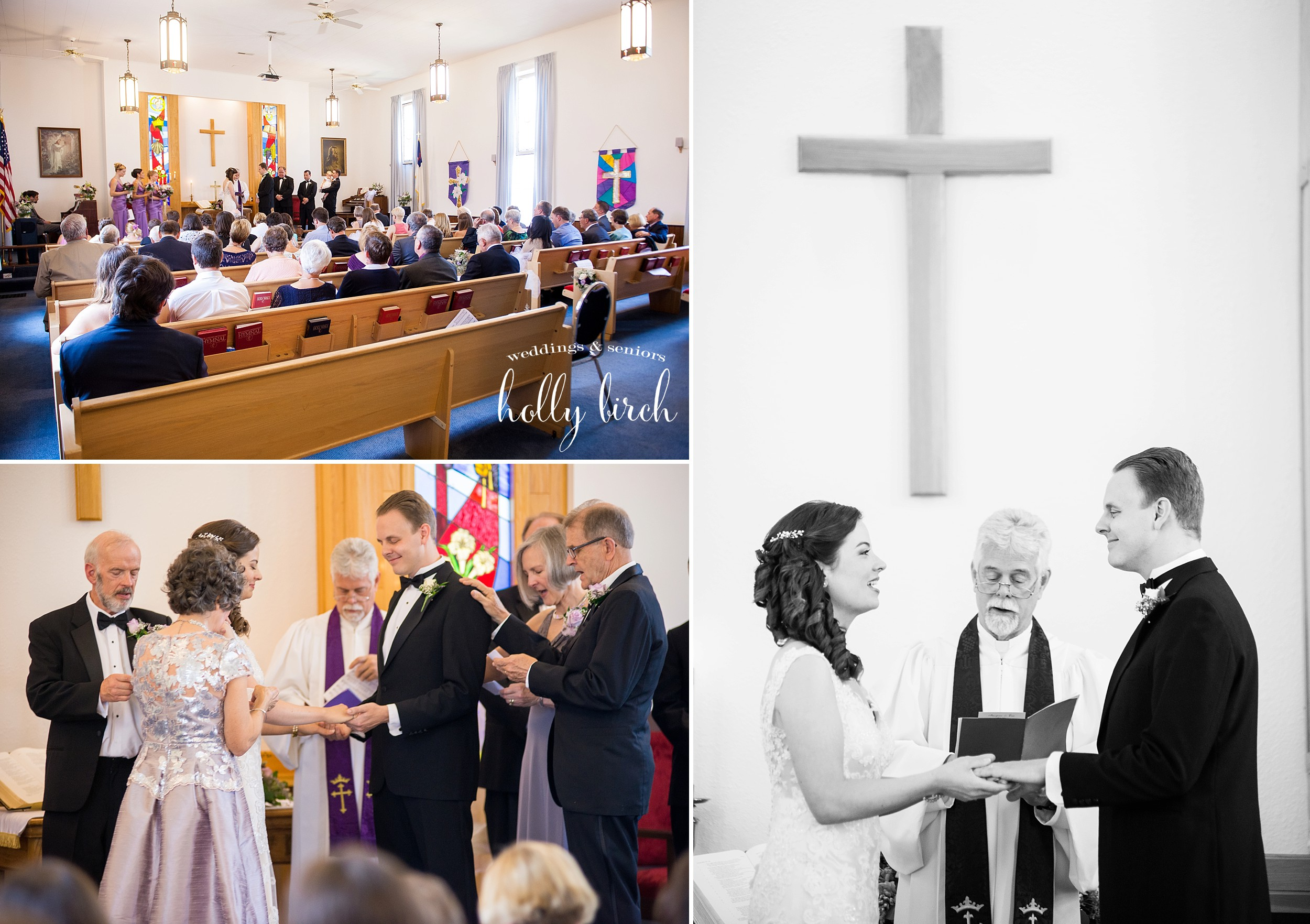 little white church wedding ceremony