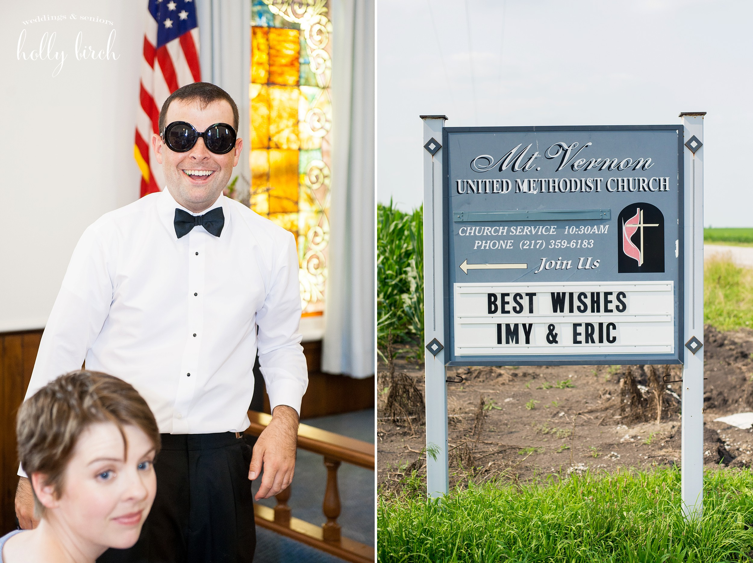 crazy glasses and church sign