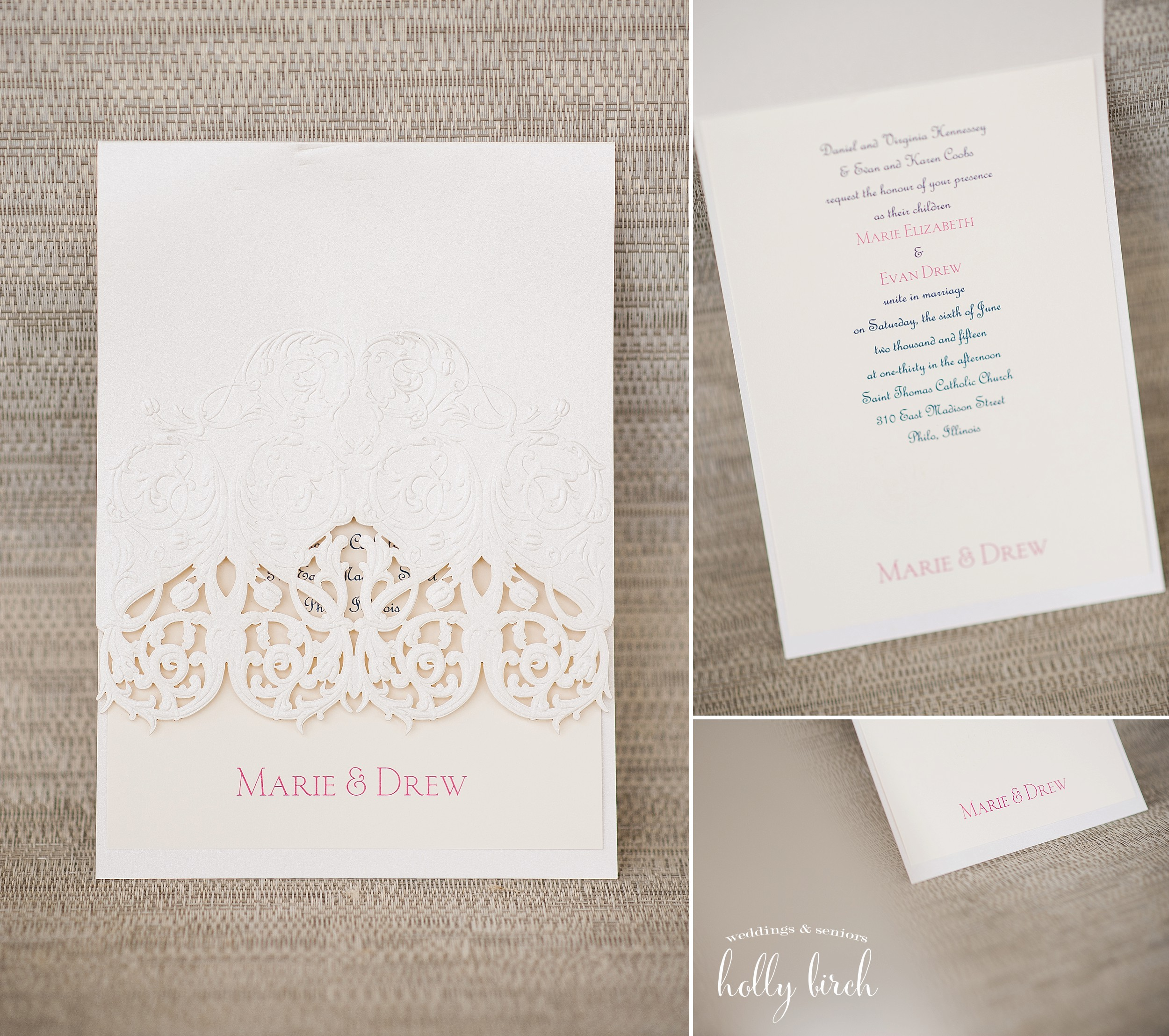 cream lace invitation pink text