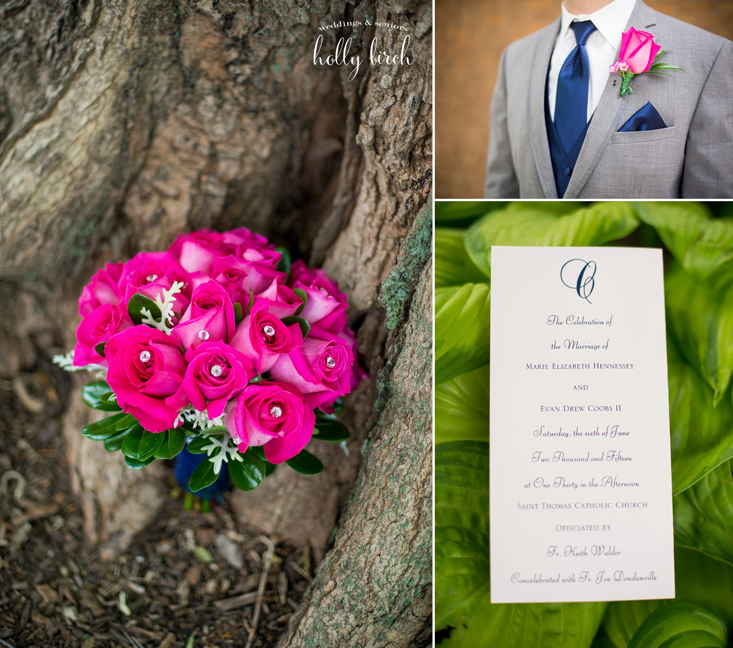 hot pink wedding details with navy