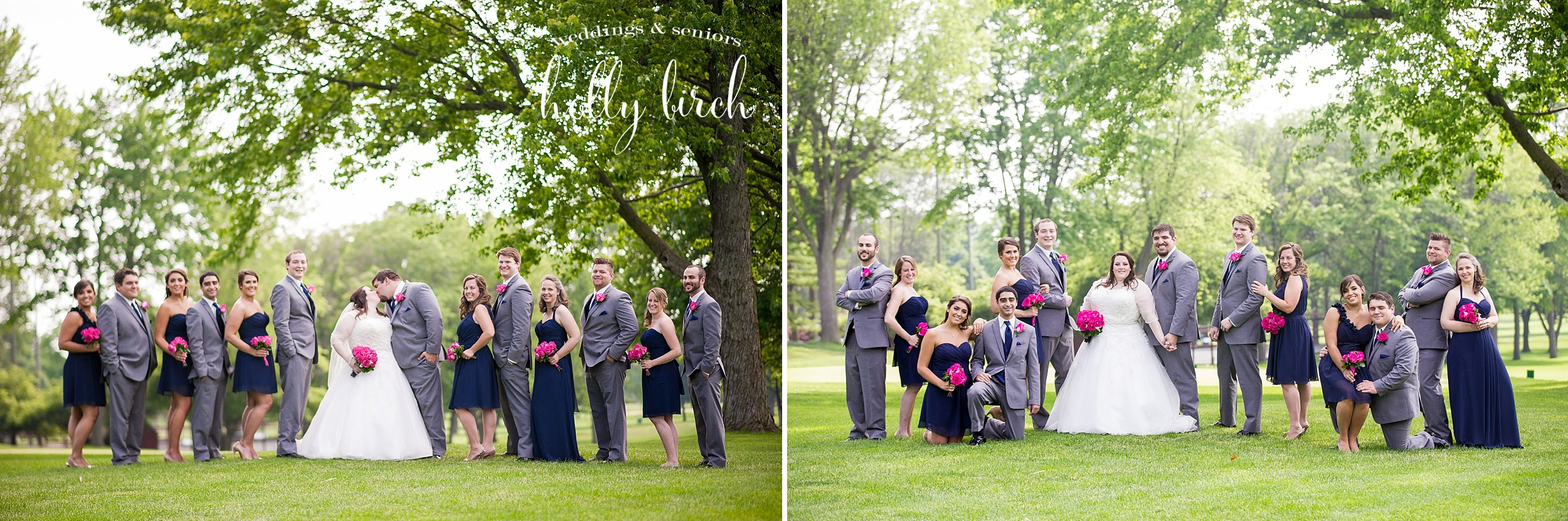 navy pink wedding party