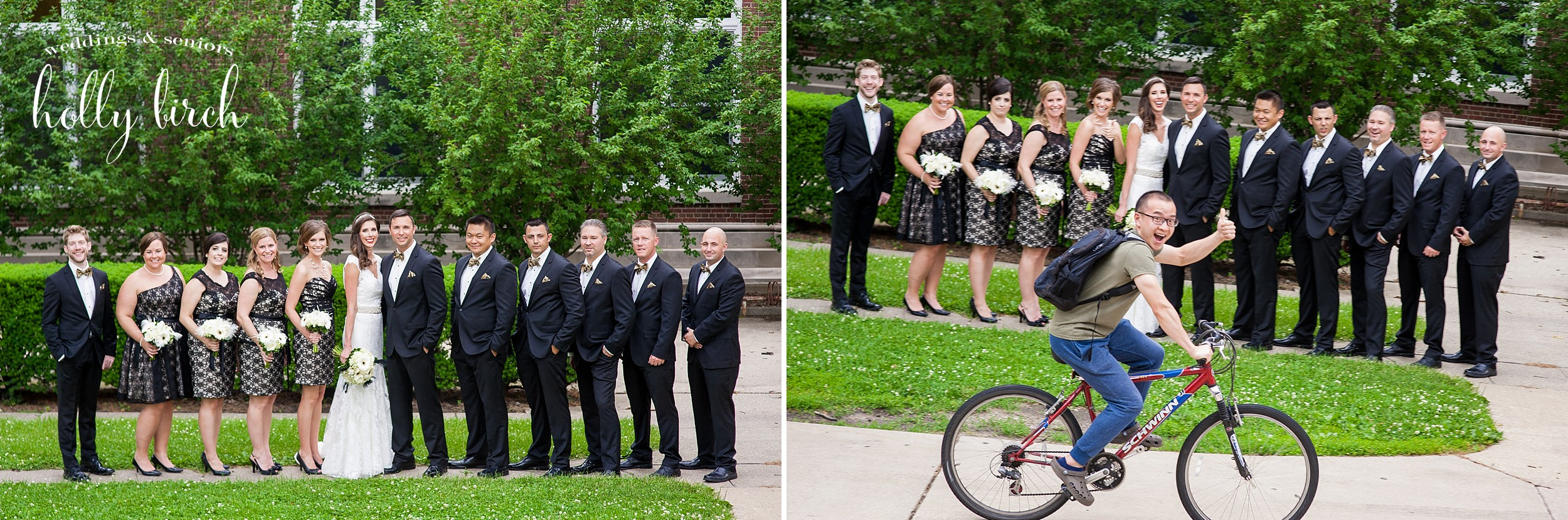 wedding party oops bicyclist