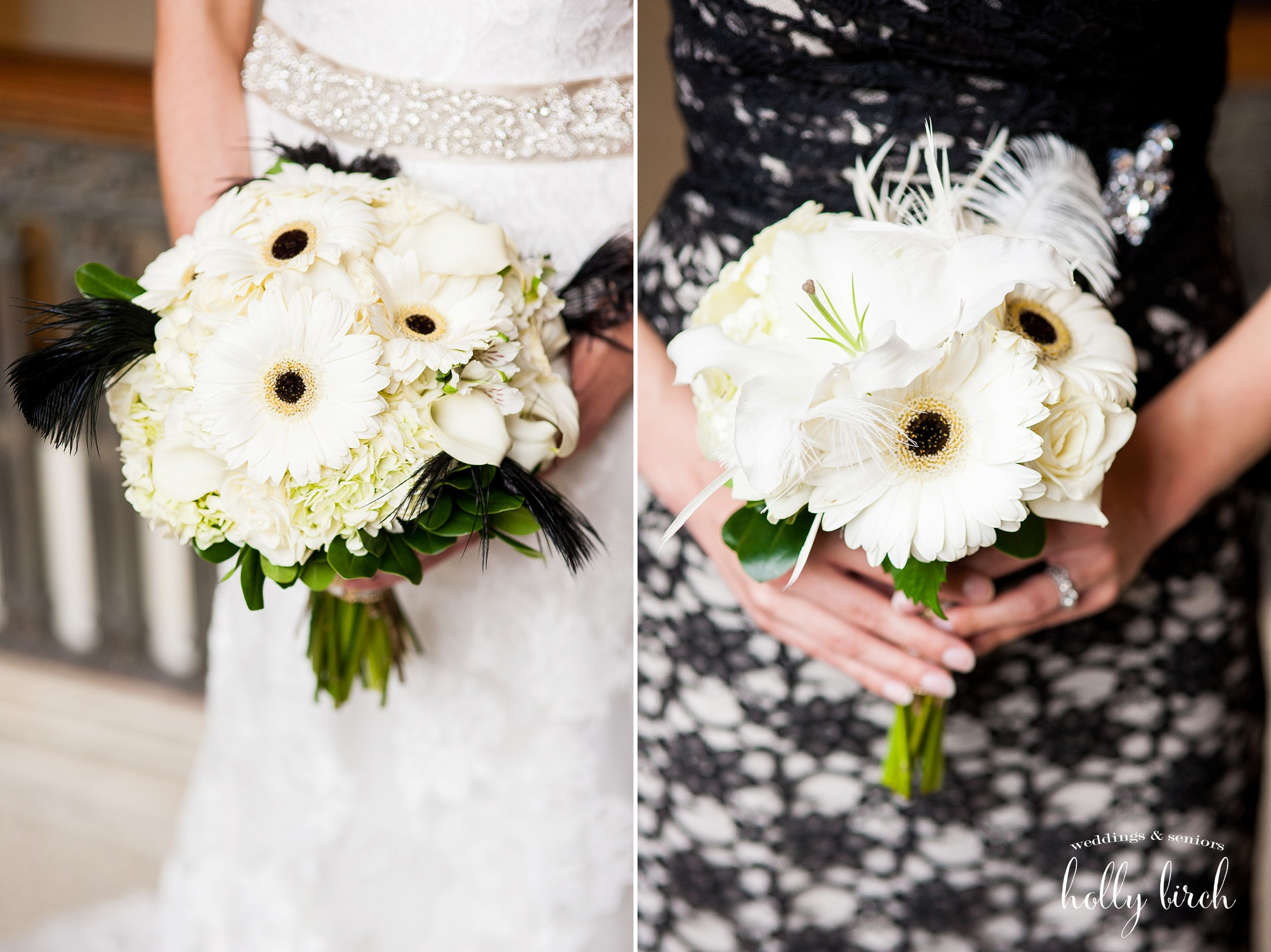 white gerbera daisies bouquet with black feathers