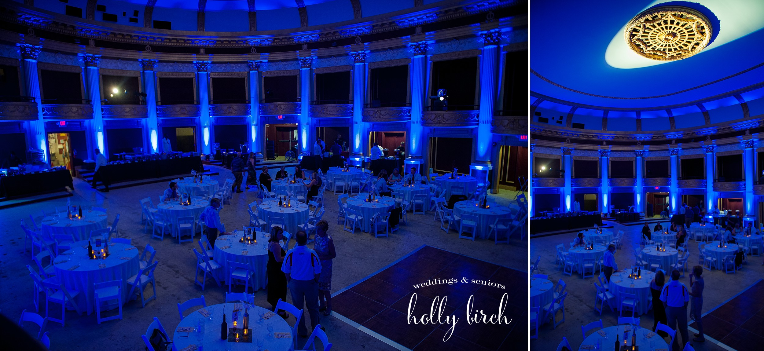 blue uplighting Orpheum wedding