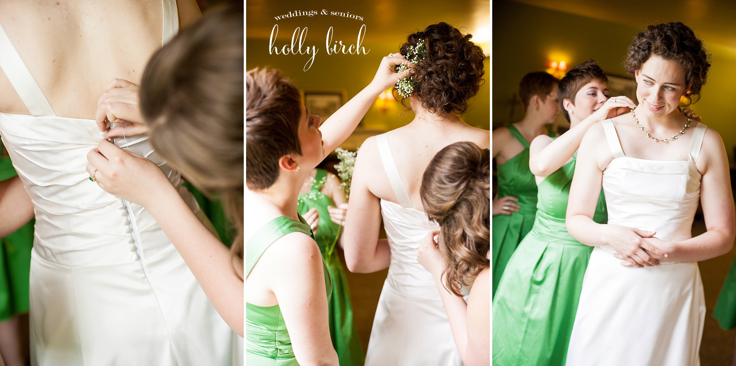 dressing the bride with final touches