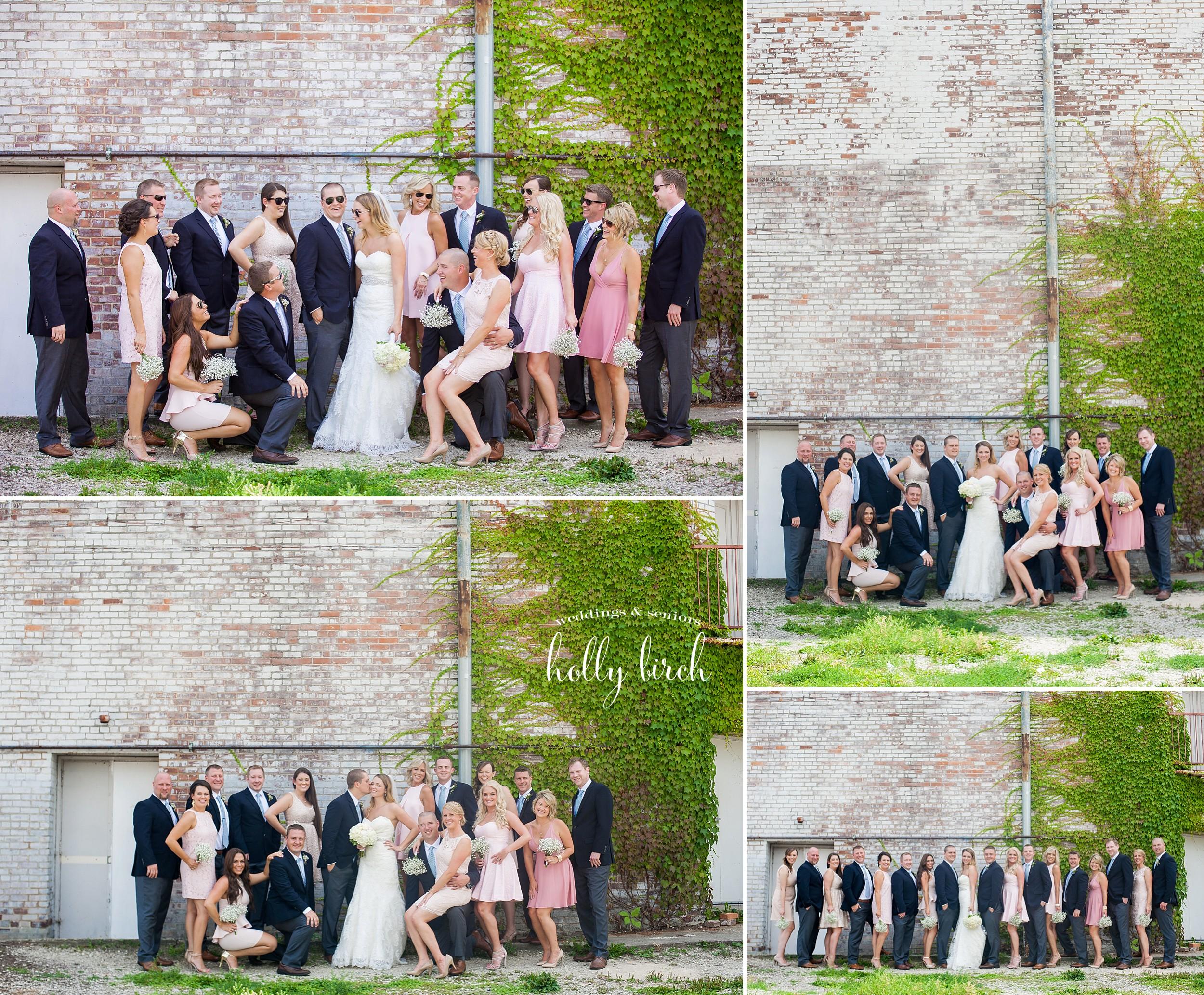 Orpheum white brick wall wedding photos