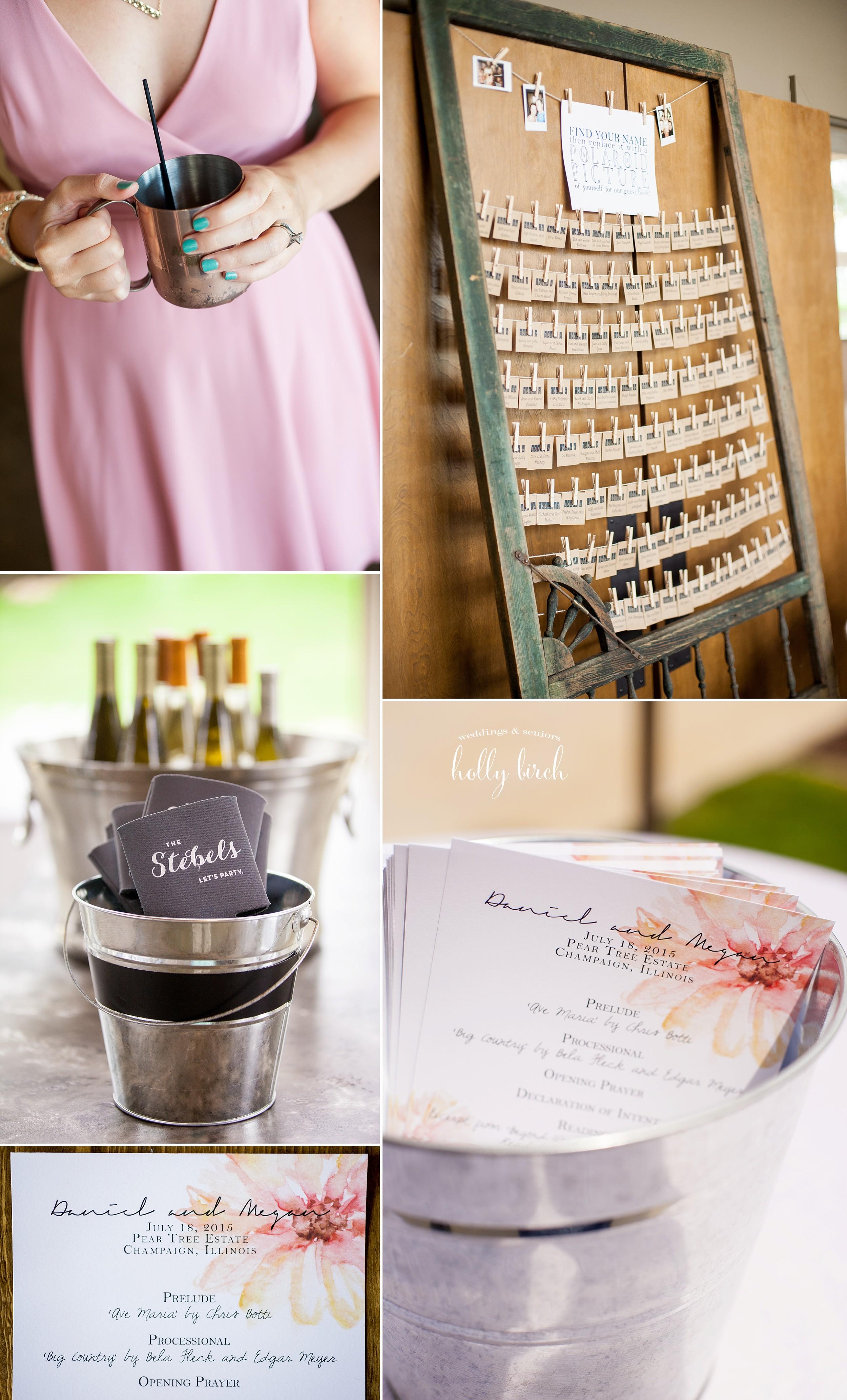 navy blush wedding details