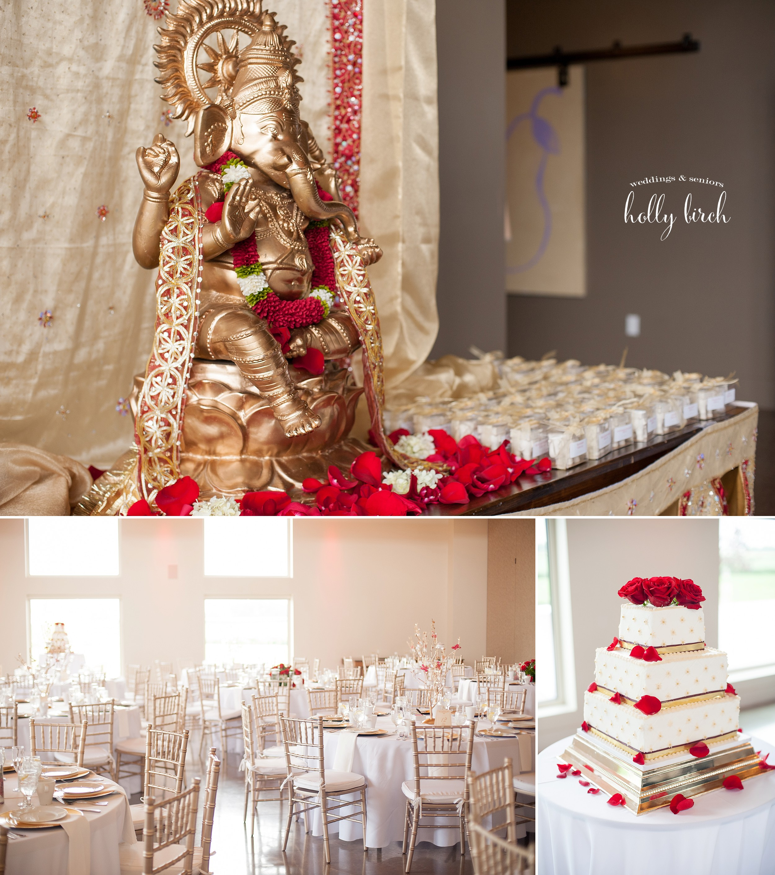 red gold wedding reception details
