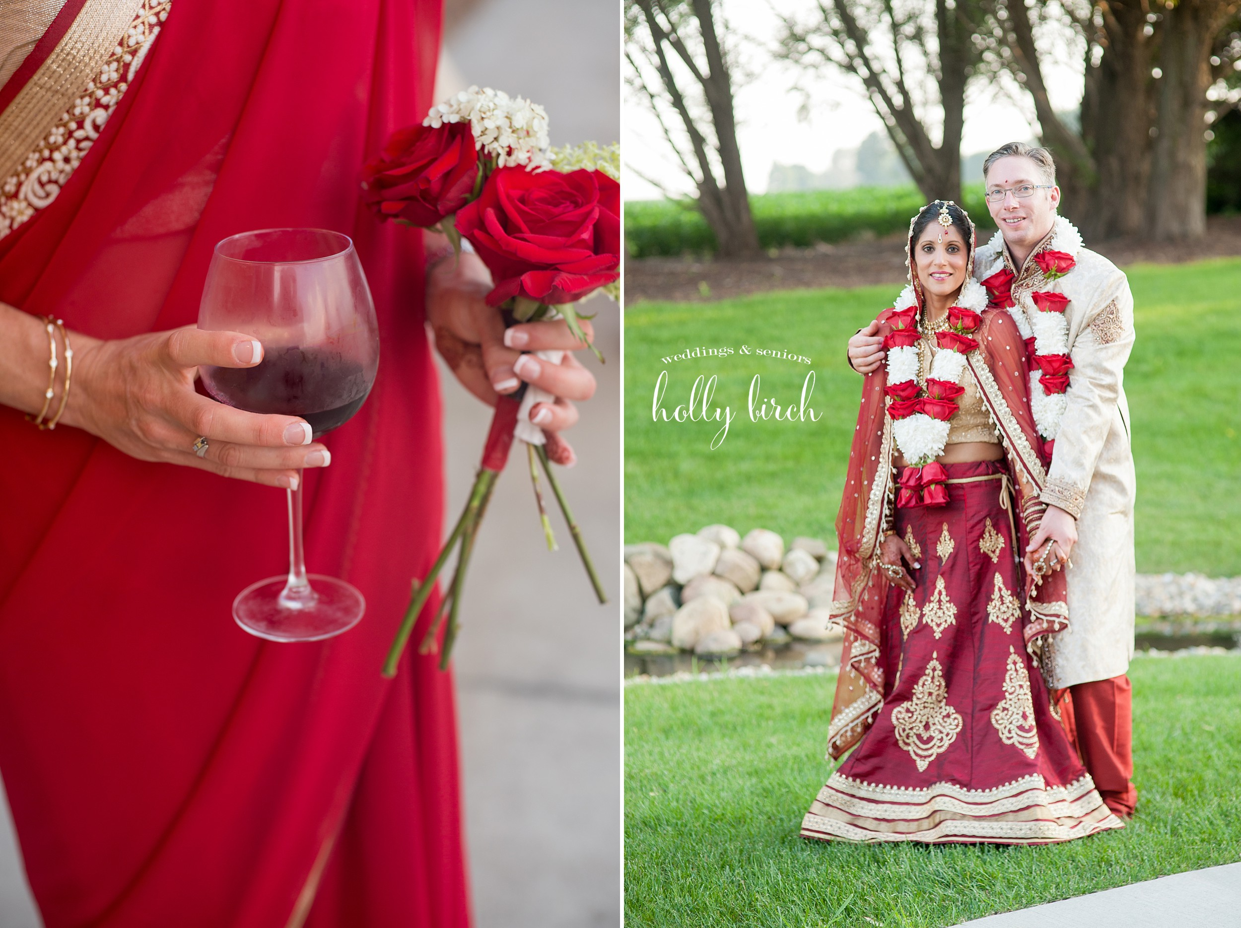 red gold saris and red wine