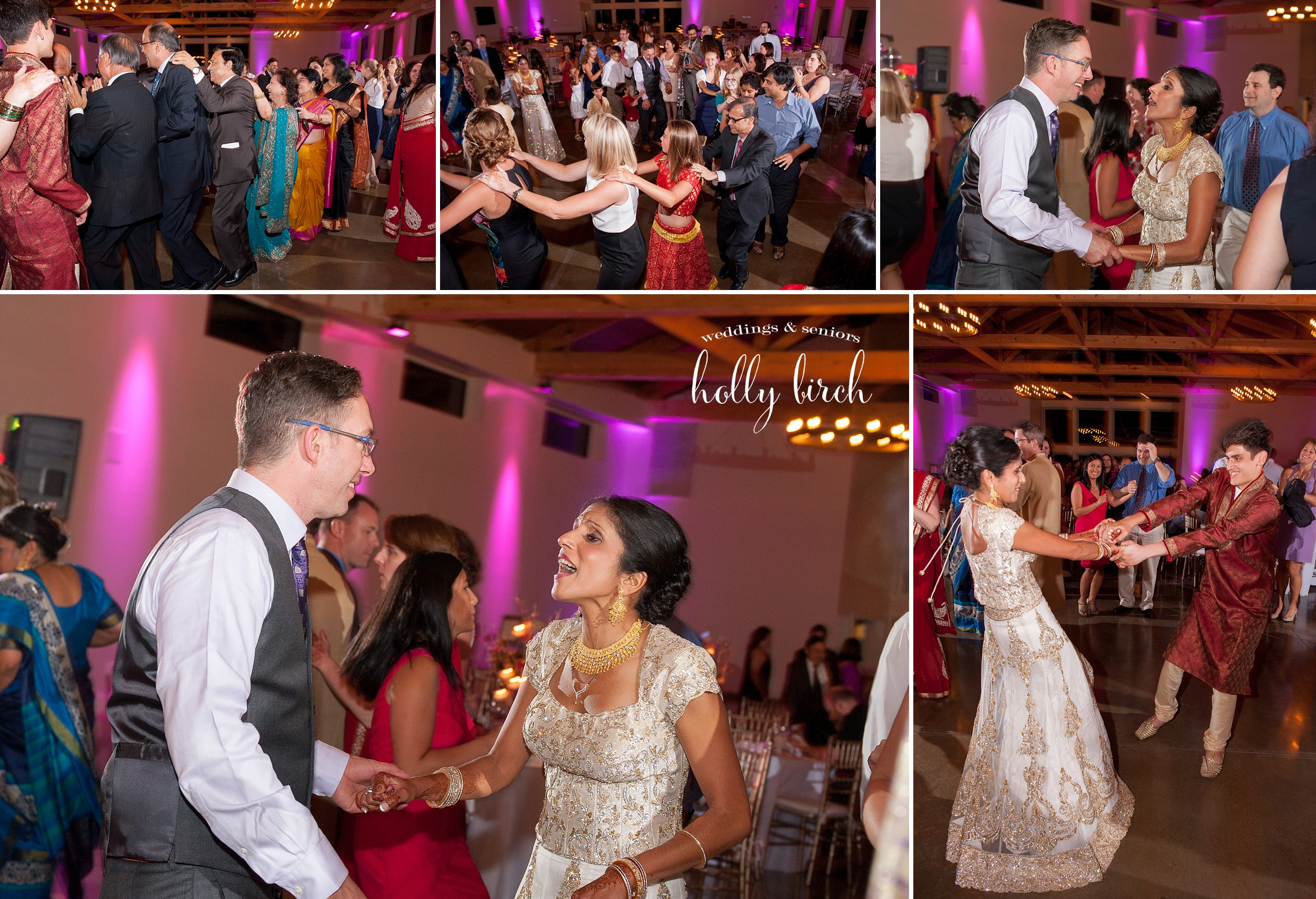 candid shots from dance floor with purple uplighting