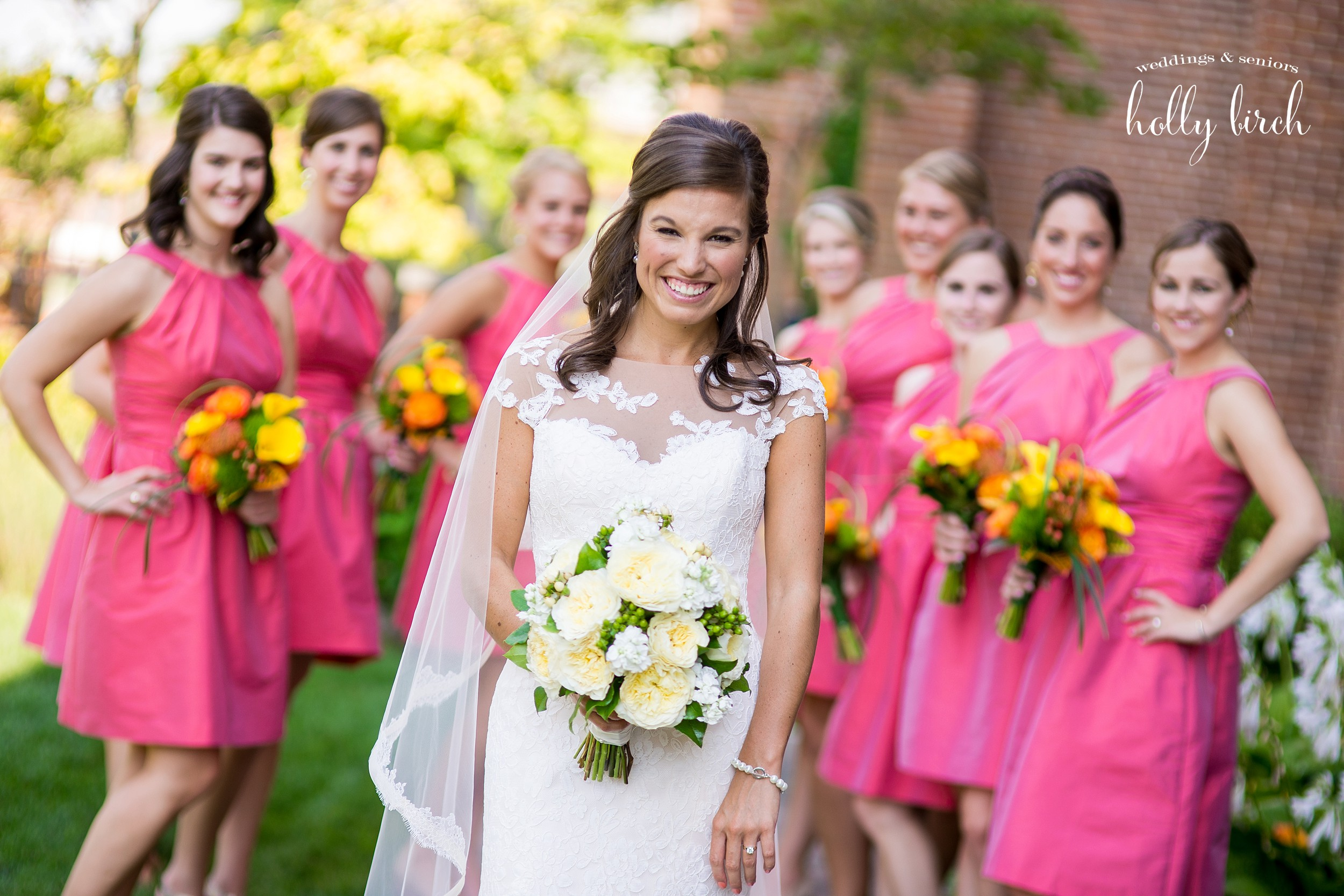 bride with nine bridesmaids