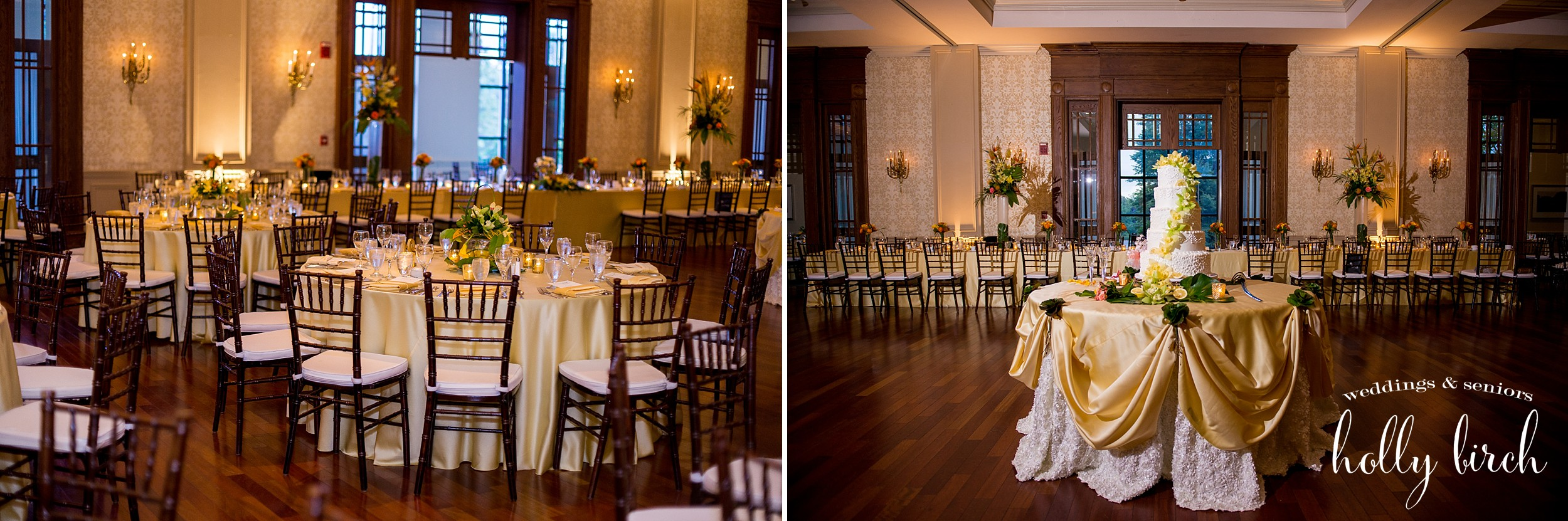 Ballroom at country club with yellow linens