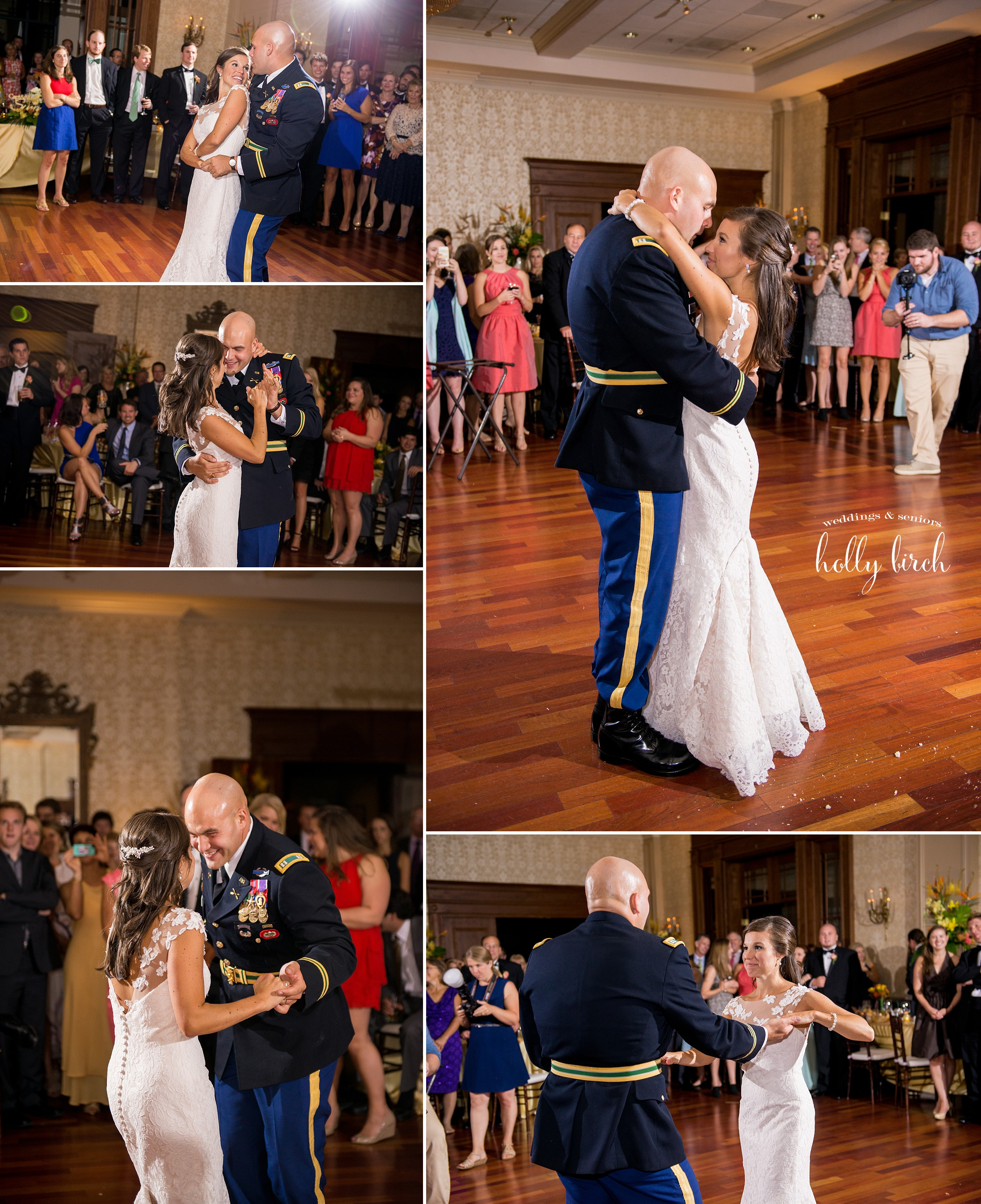 bride and groom first dance pictures in ballroom