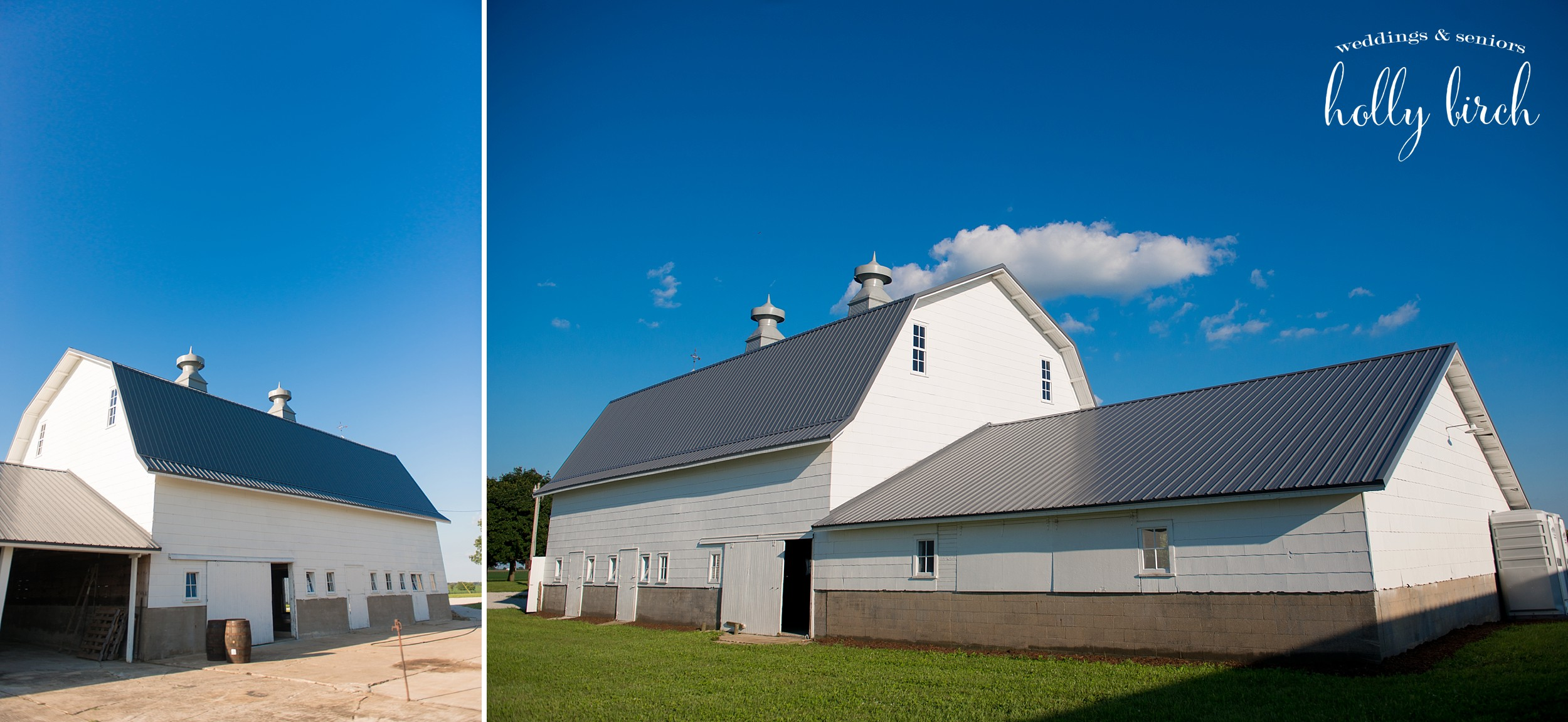 white barn with blue skies