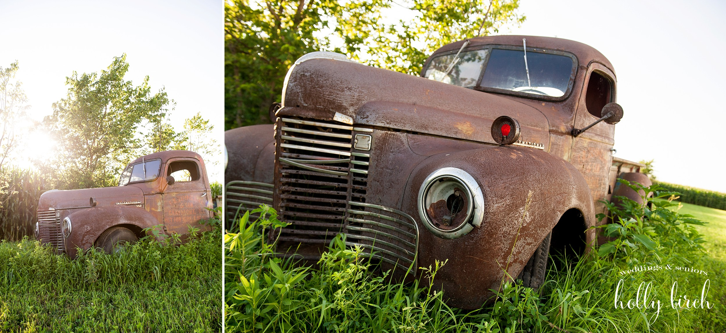 old rusted out car for wedding pictures