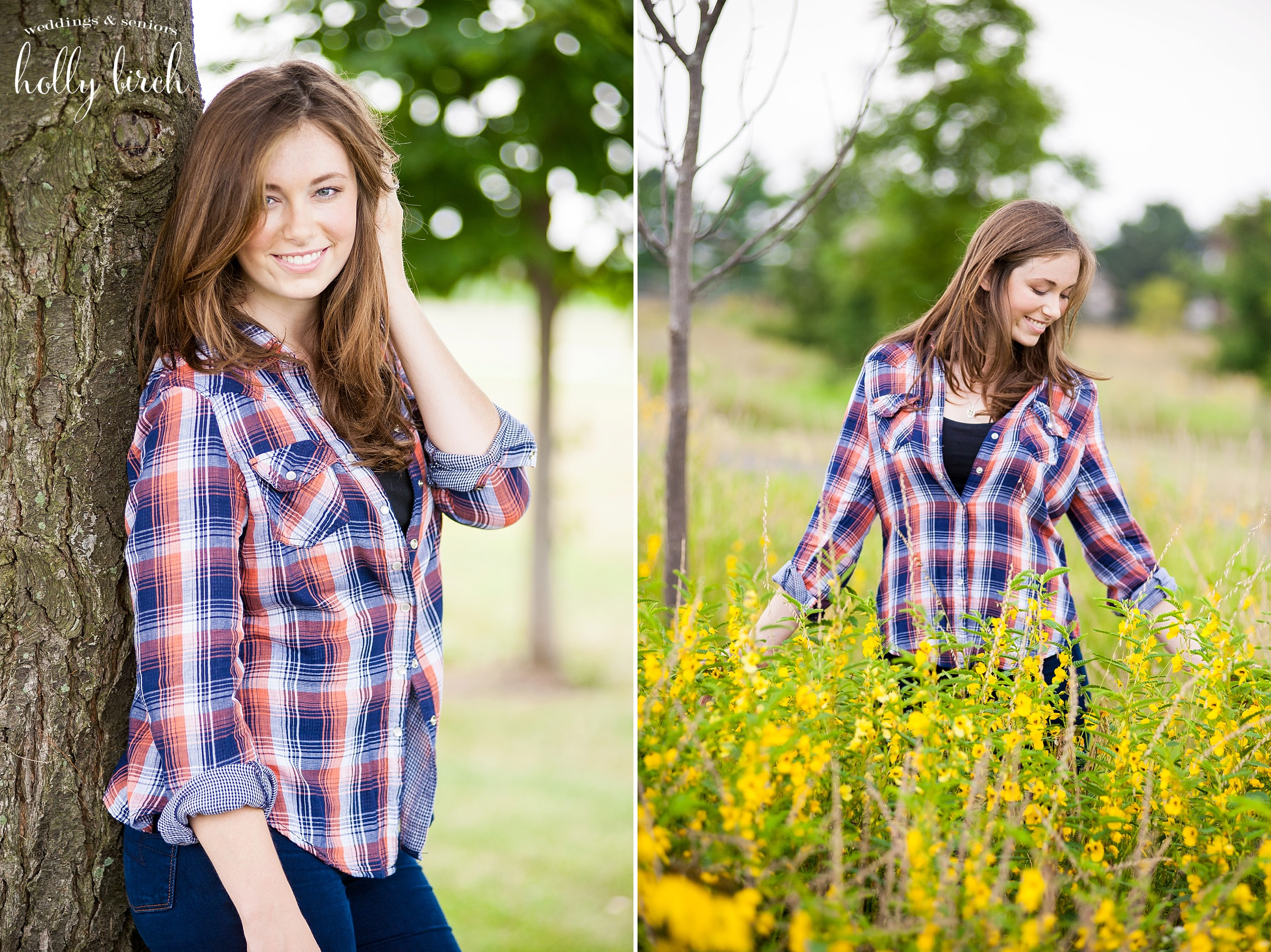 senior pix with tree and tall weeds