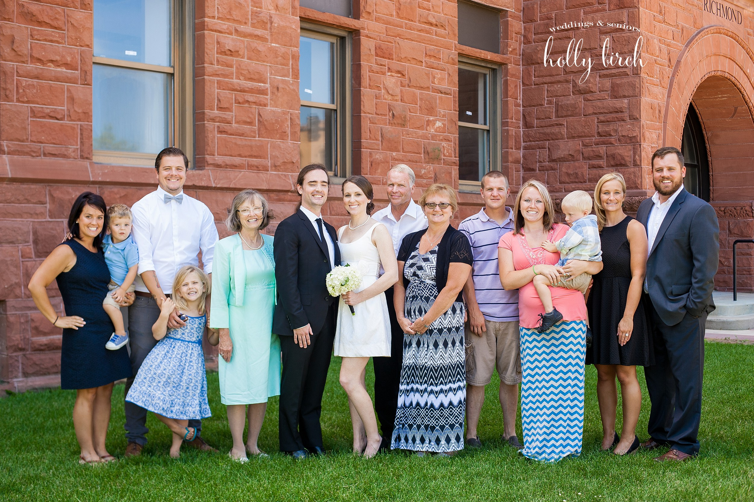 family group photo for courthouse wedding