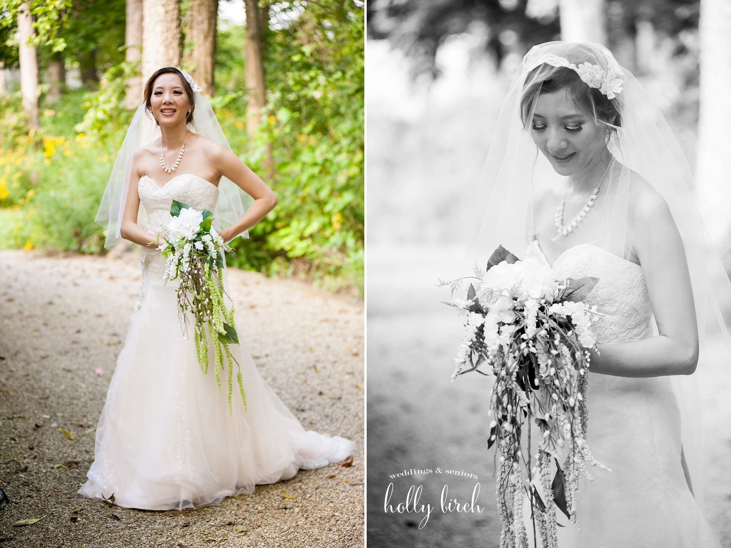 bridal portrait cascade bouquet