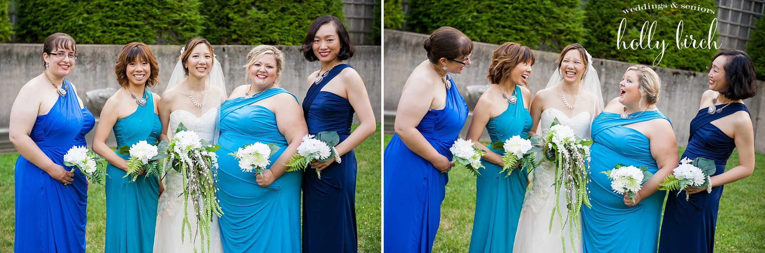 bridesmaids shades of blue