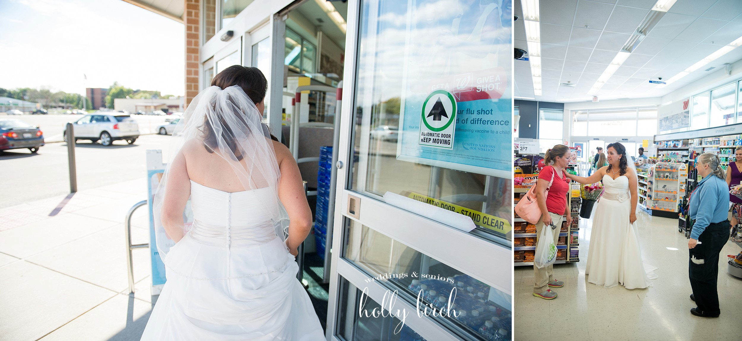 bride at Walgreens visiting coworkers