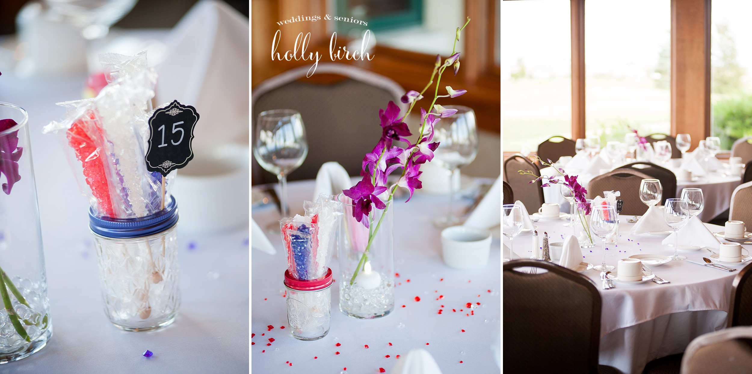 purple red wedding centerpieces