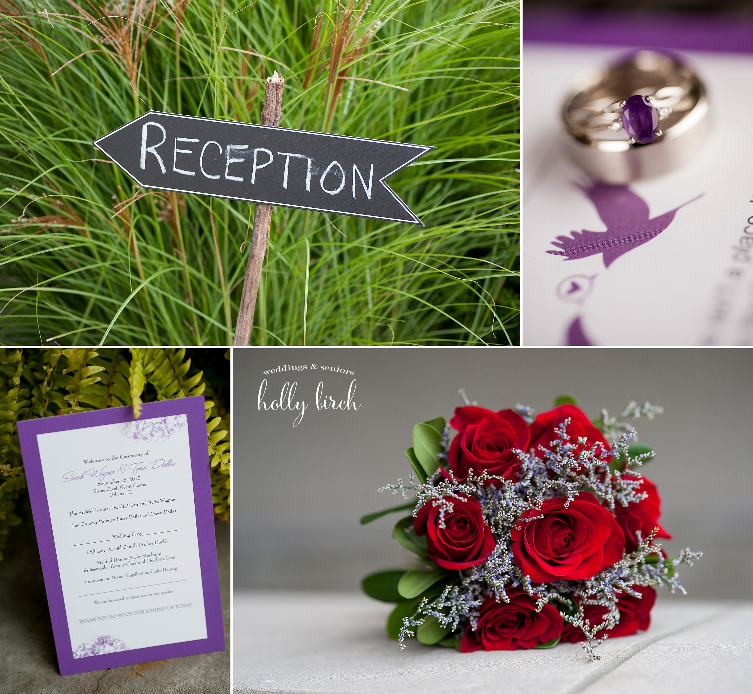 purple wedding program ring and flowers