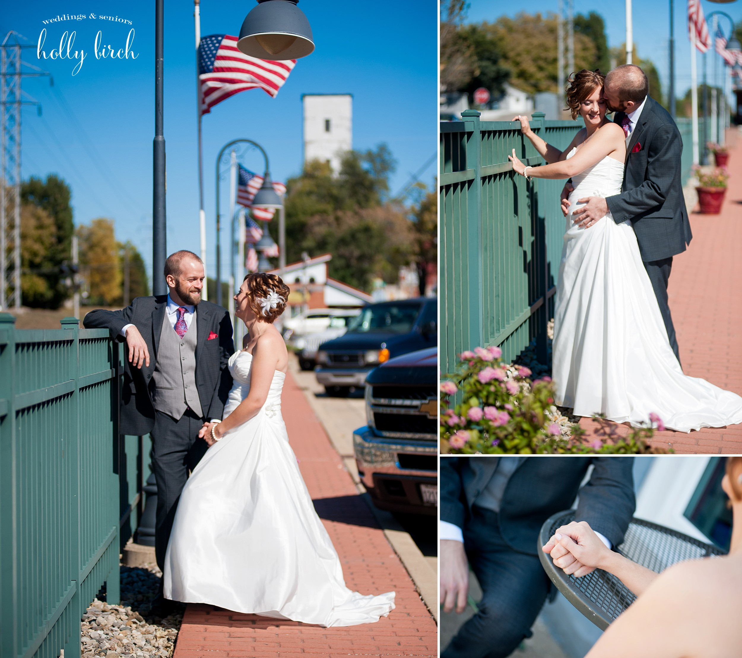 Americana wedding photo with flag