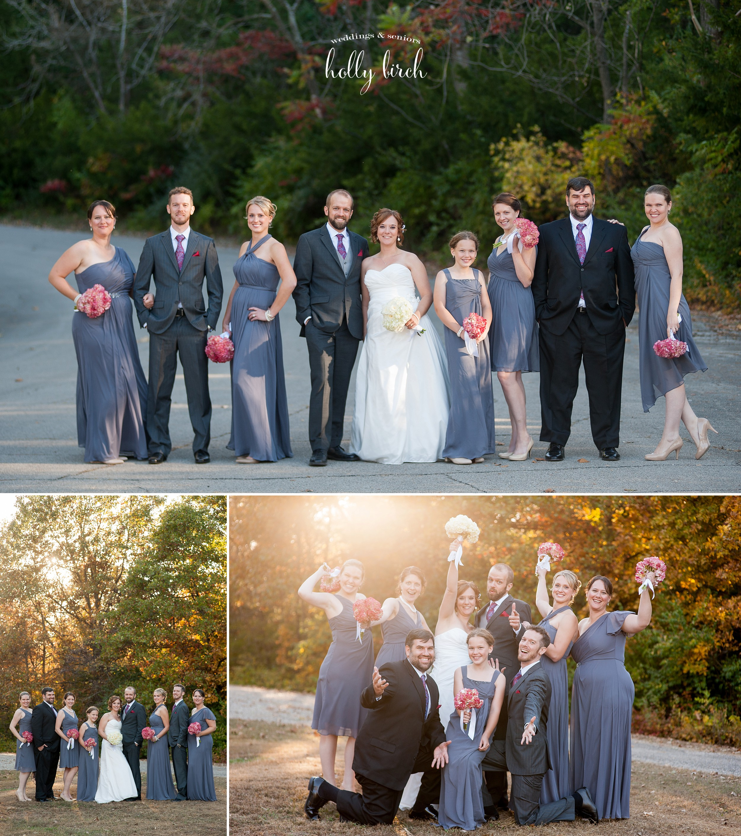 gray black wedding party
