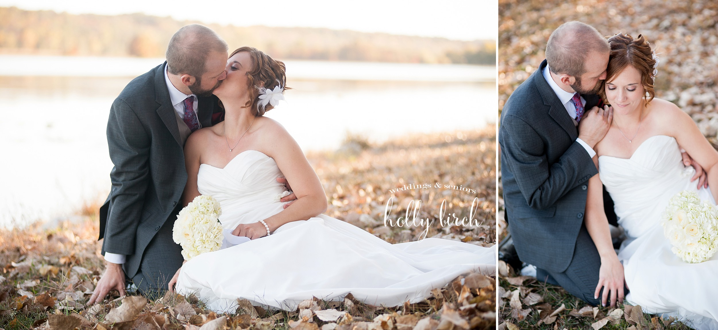 wedding photos with fall autumn leaves