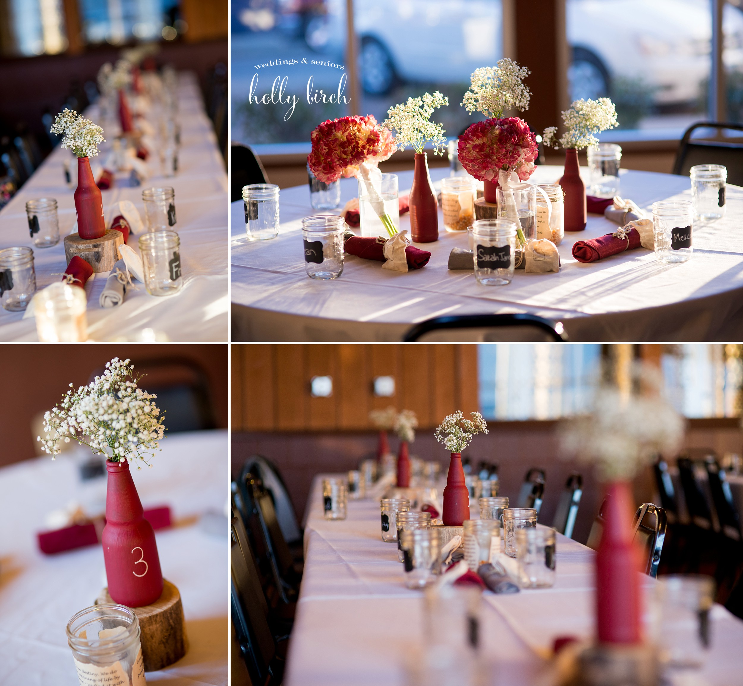 red painted beer bottle centerpieces