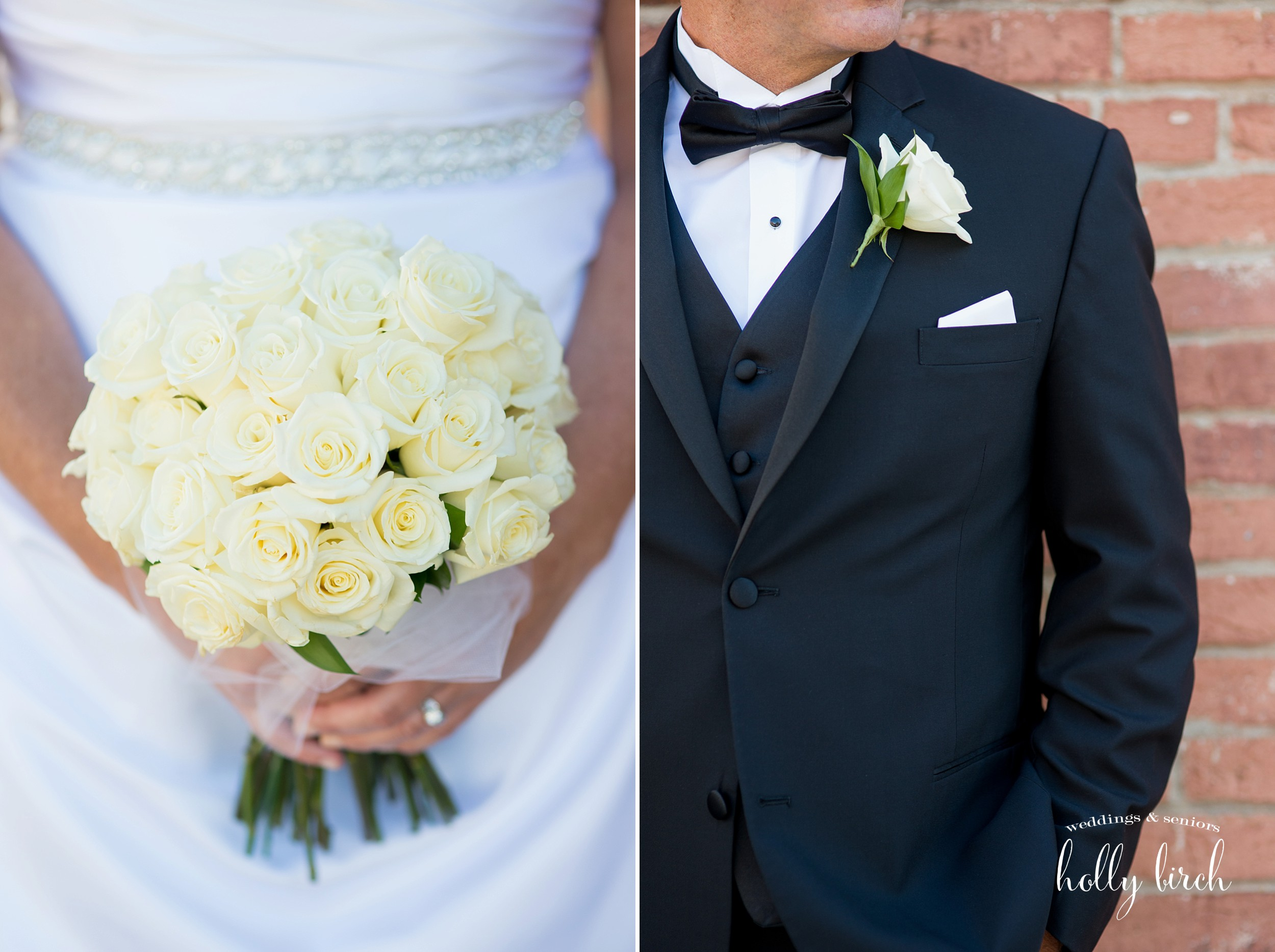 white rose bouquet and boutonneire