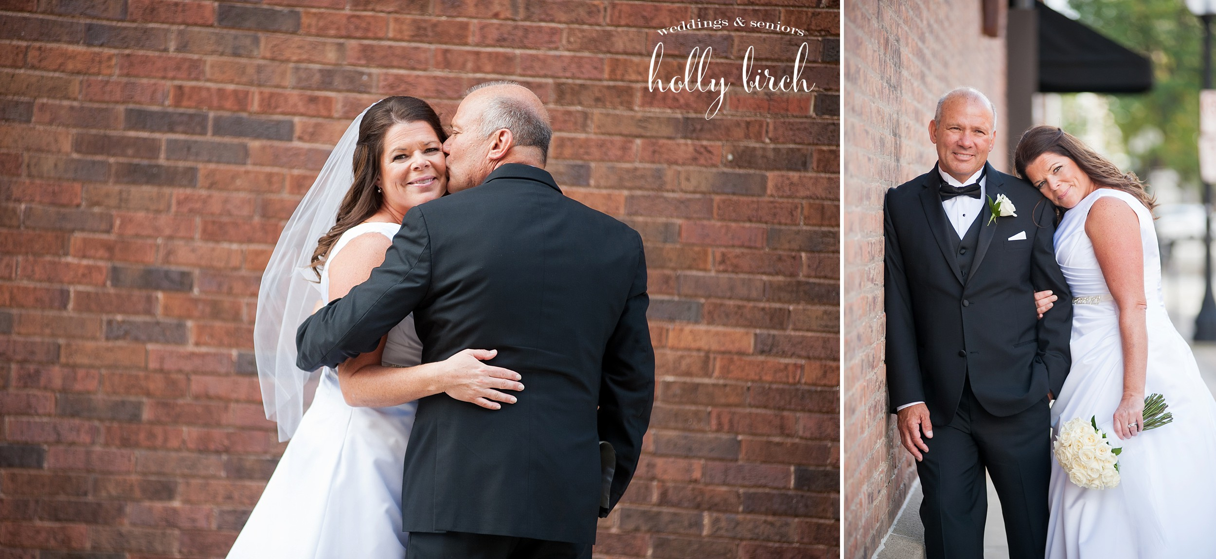 brick wall wedding pics