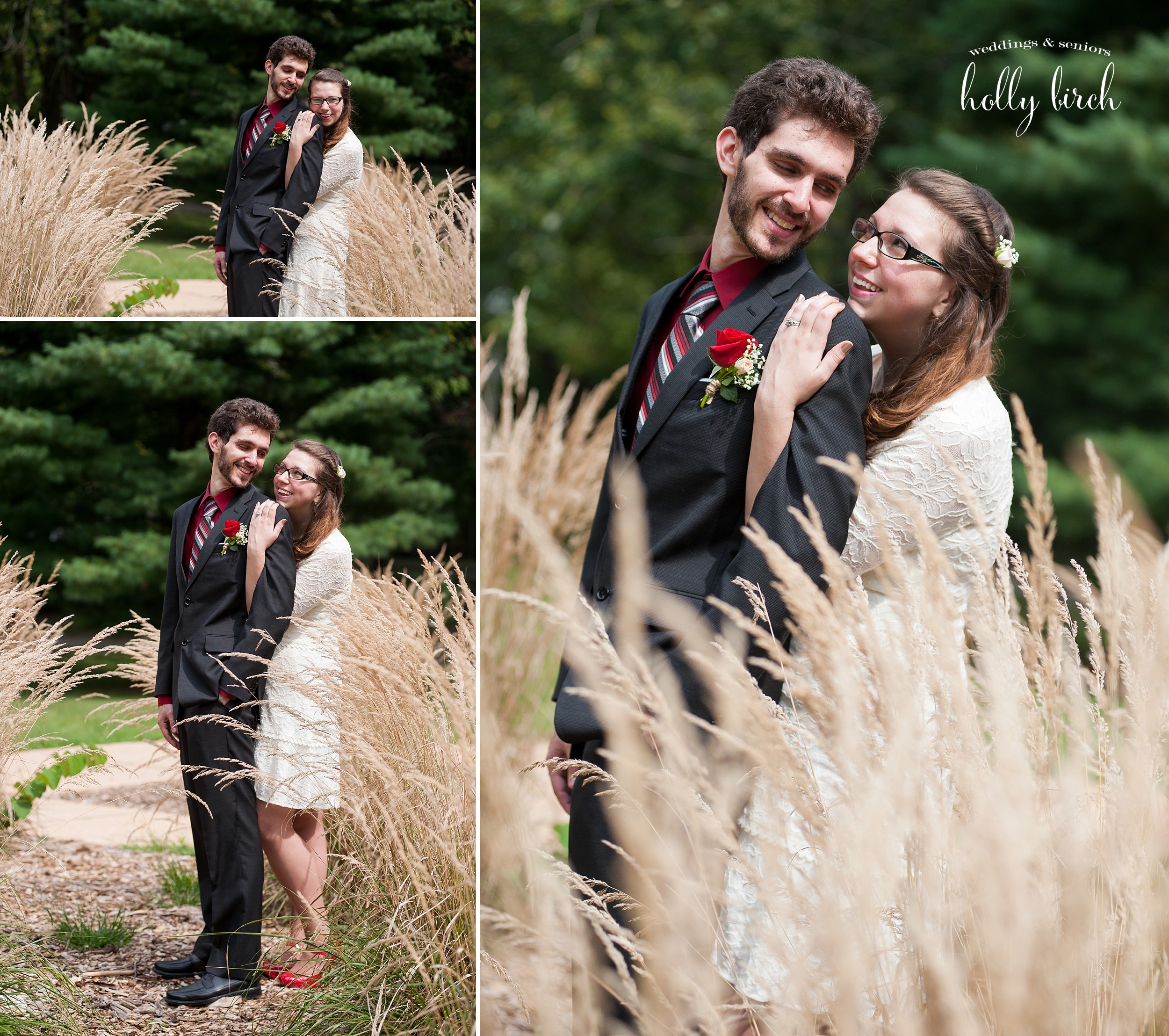 bride and groom with tall grass