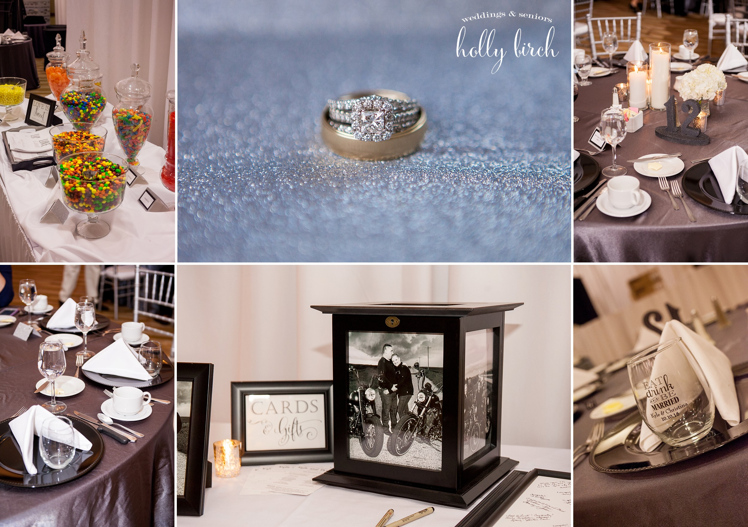 black and silver wedding details at iHotel