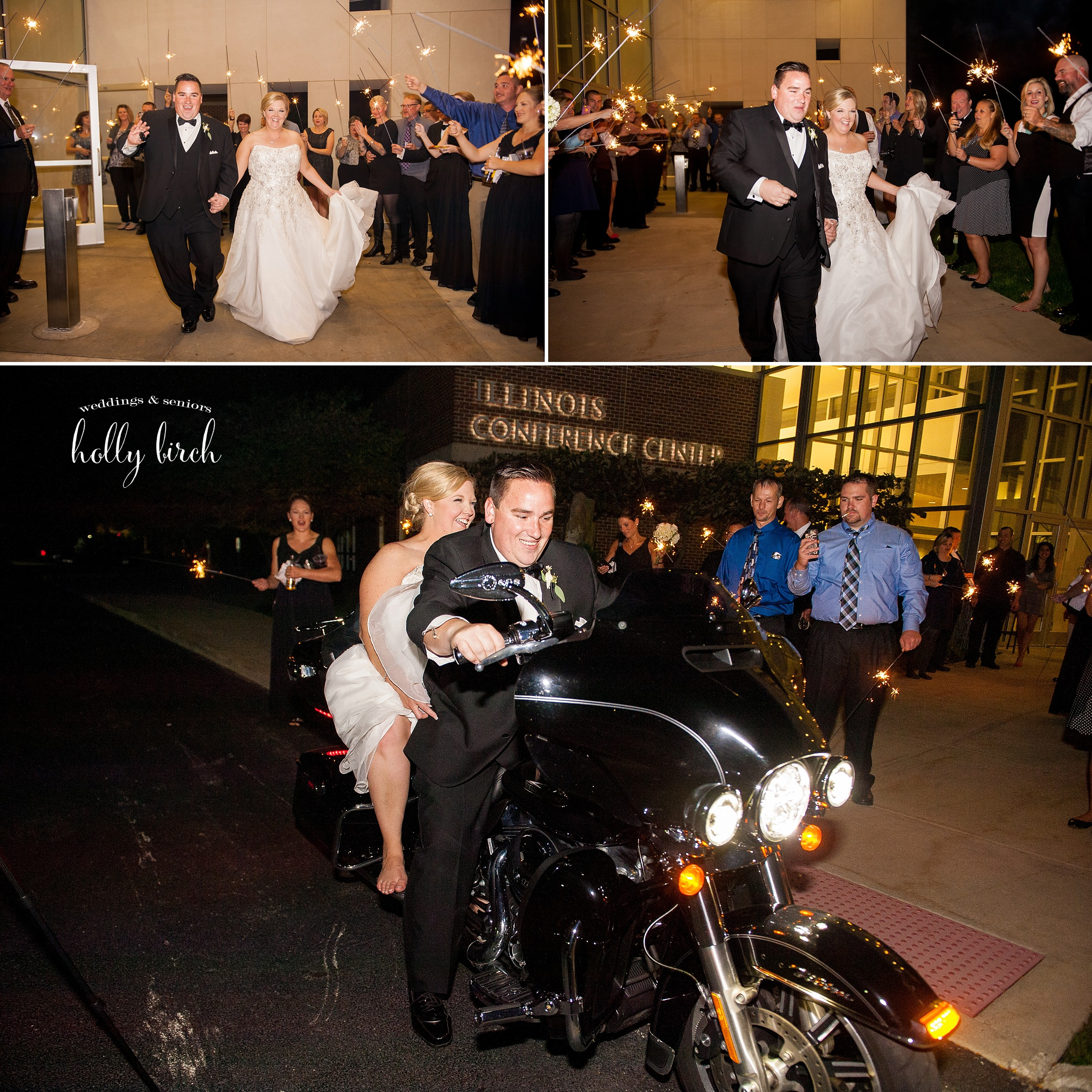 sparkler exit and motorcycle getaway