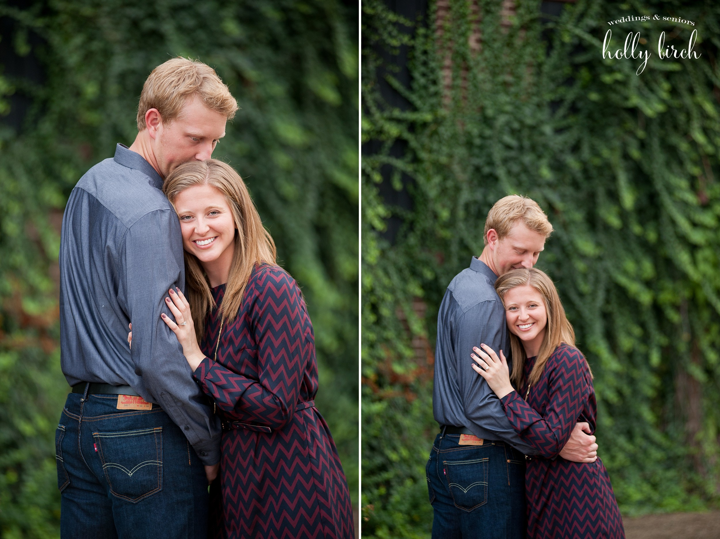 couple with ivy wall engaged