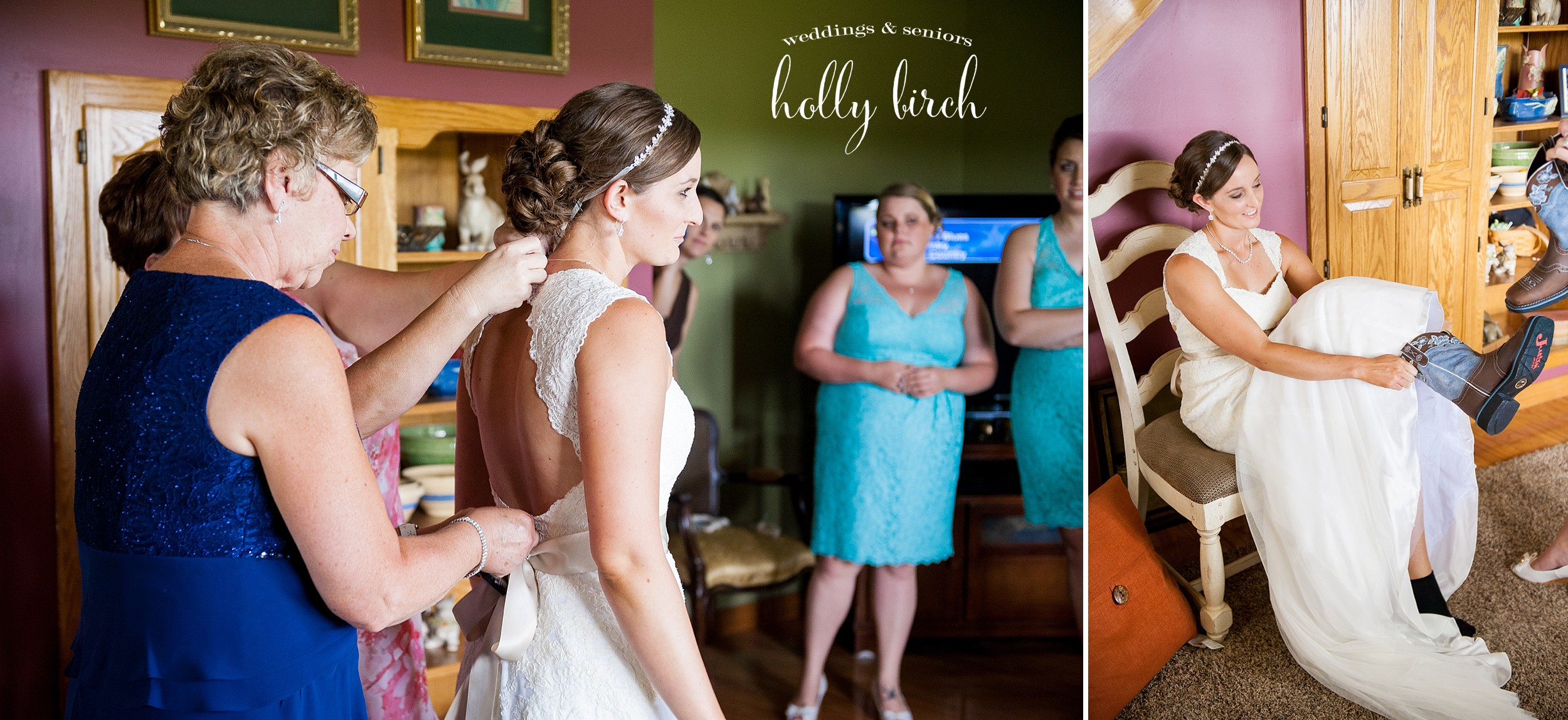 bride getting ready in farmhouse