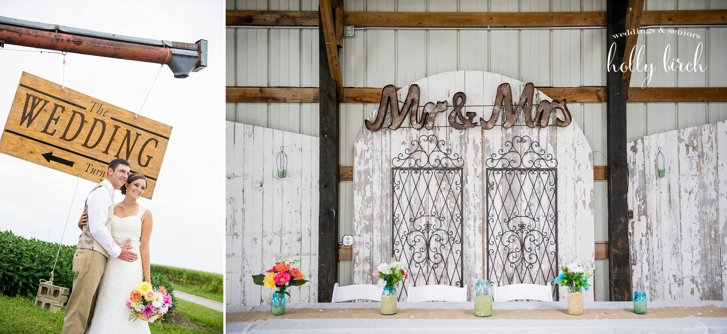 Mr. & Mrs. sign in shed