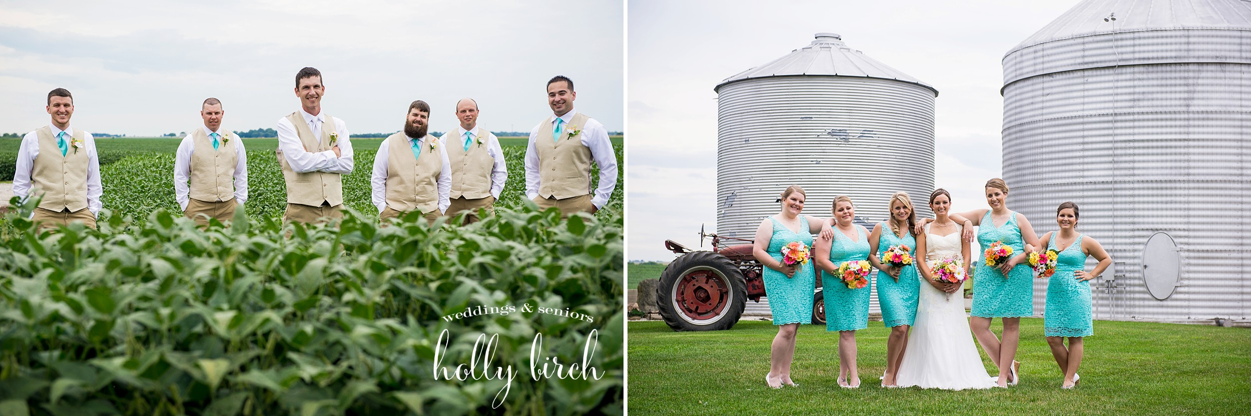 bridesmaids and groomsmen on farm