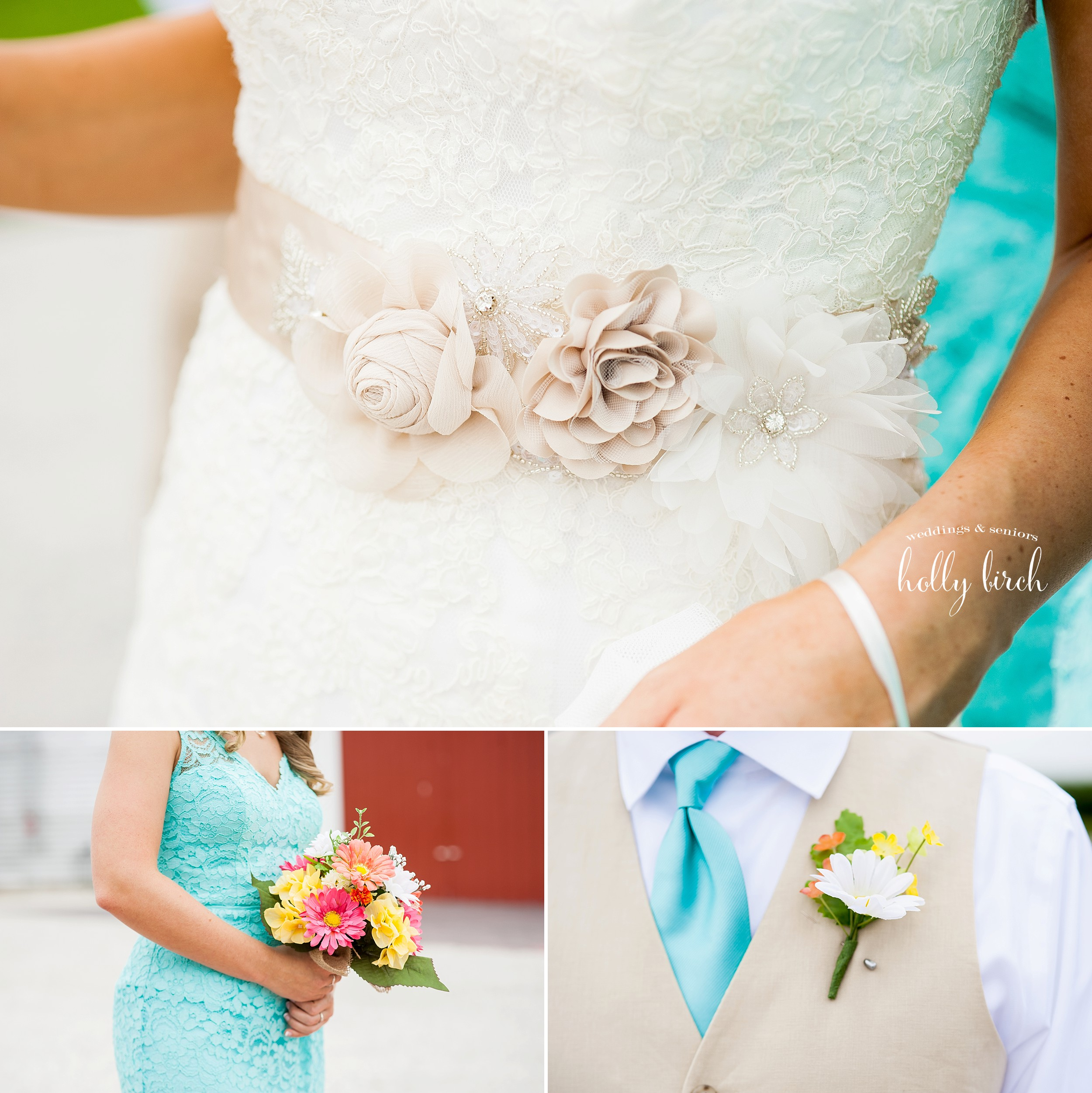 gown, suit and flower details