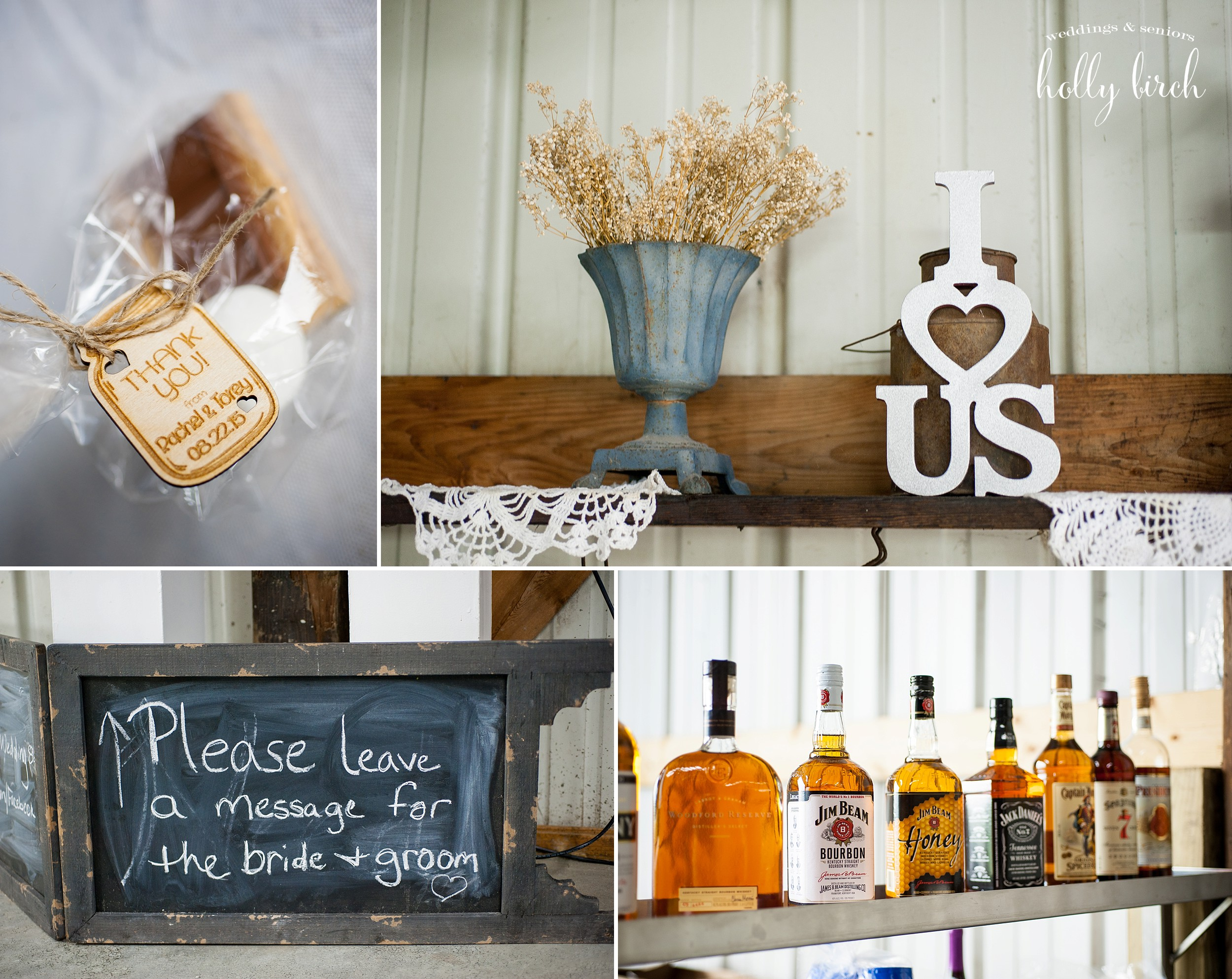Rustic wedding signs and decor