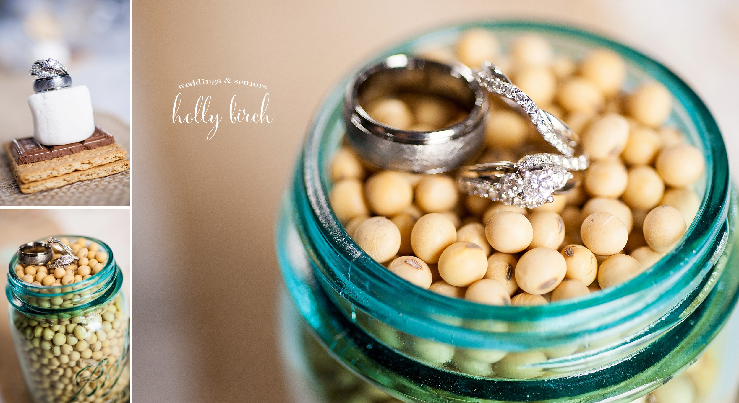 Ring photos with soybeans in a mason jar