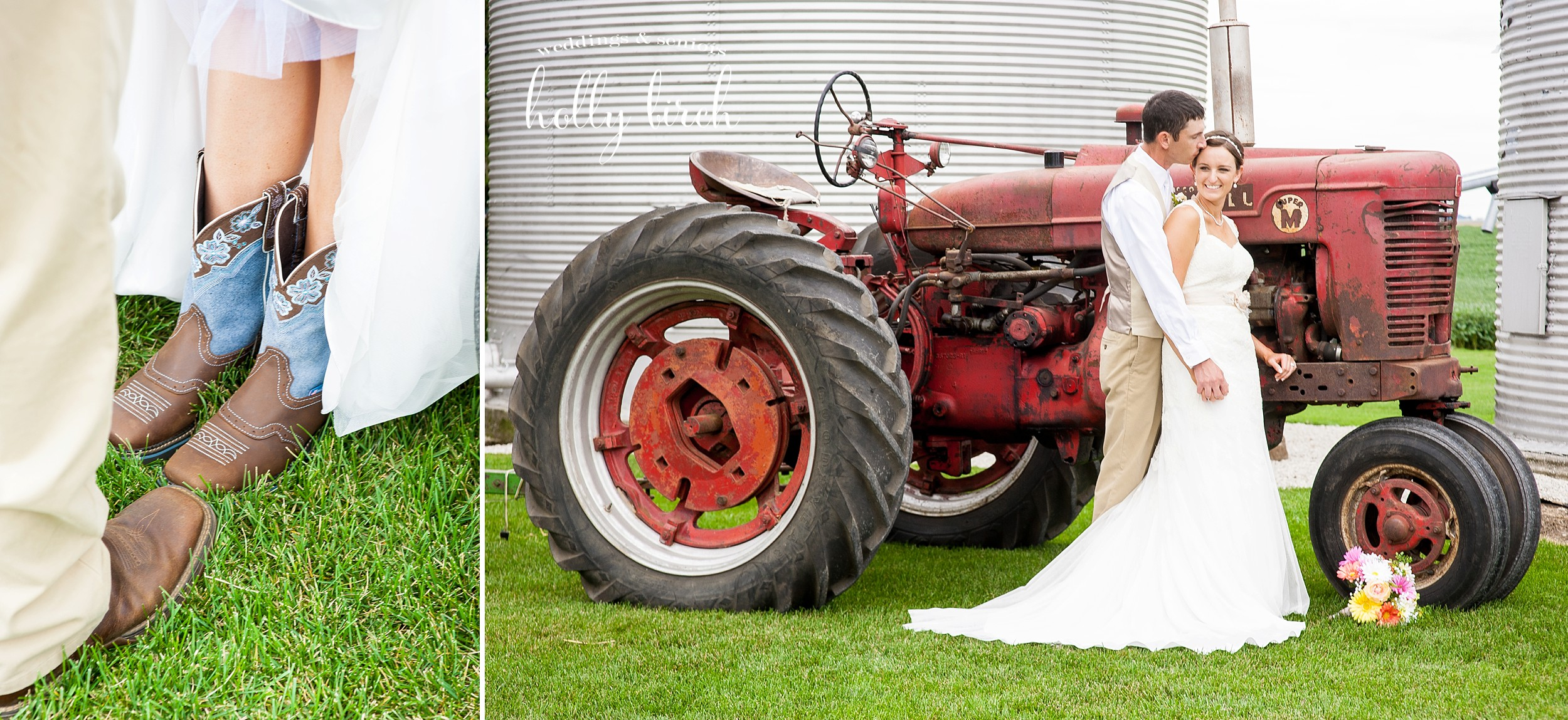 bride and groom with boots and tractor