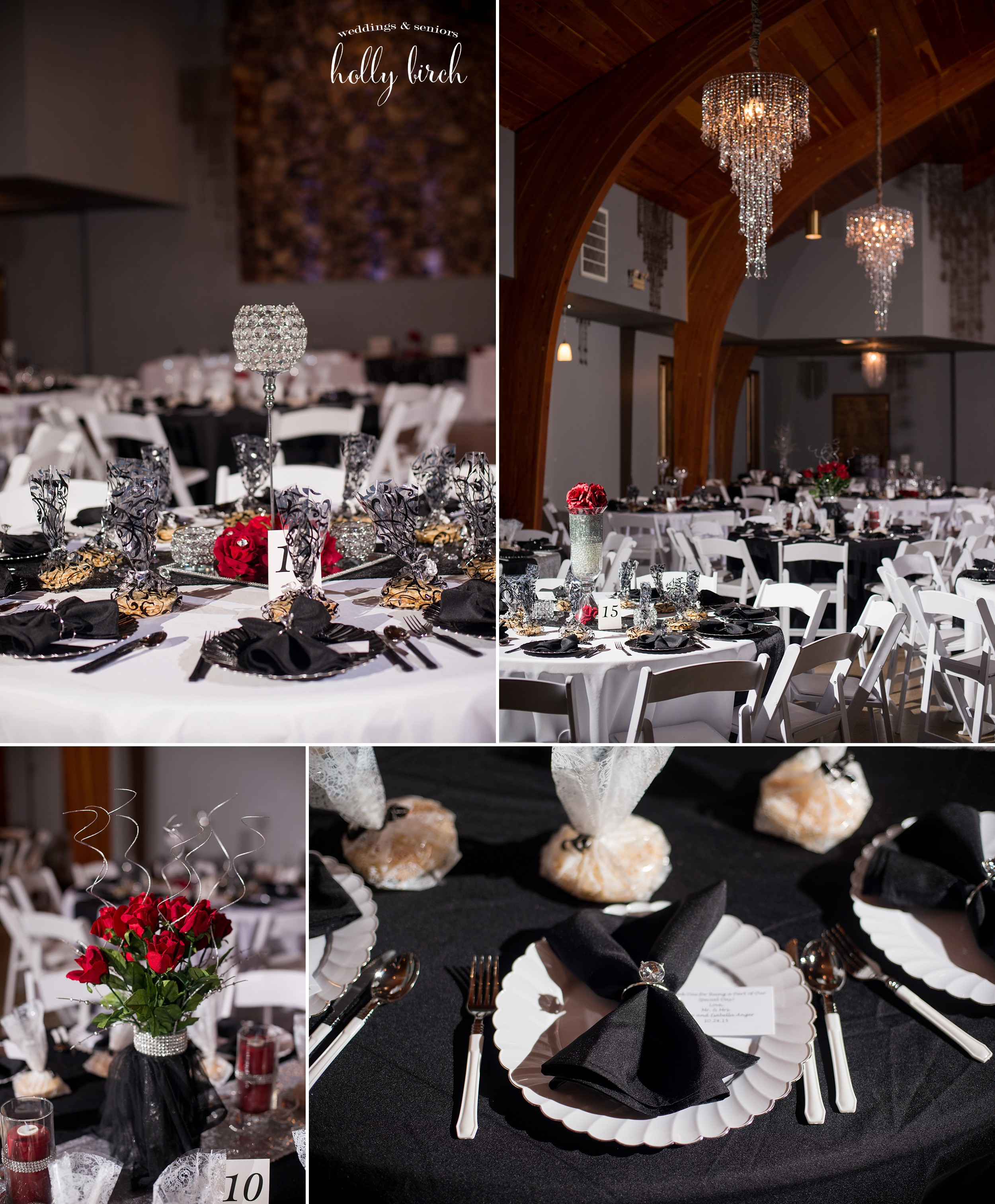 black-white-silver reception decor