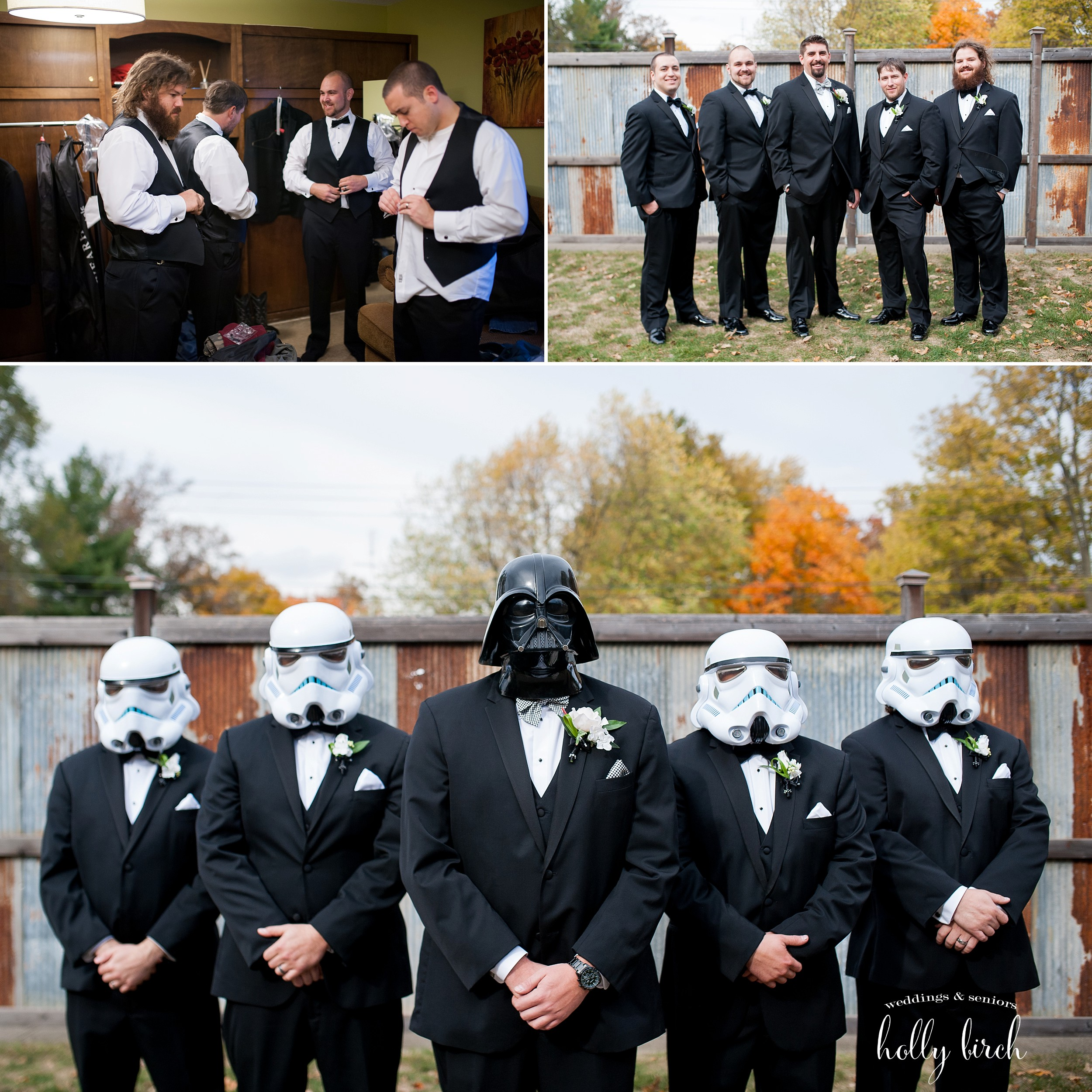 Star Wars groomsmen with Darth Vader and stormtroopers