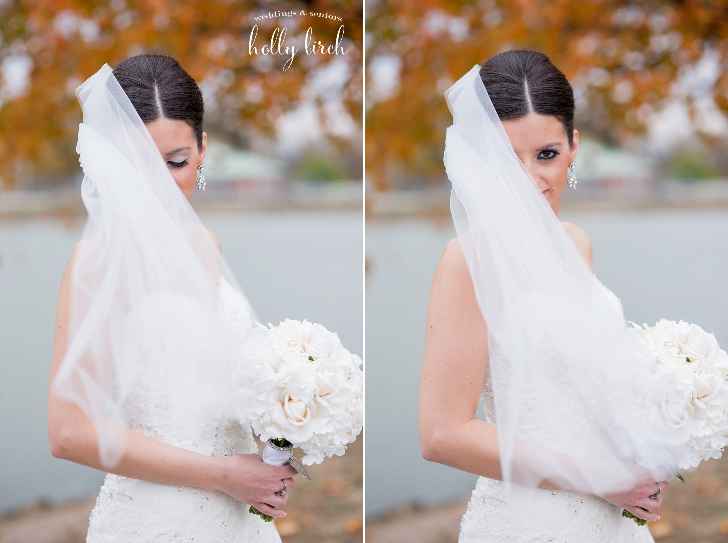 bride with wind blowing veil