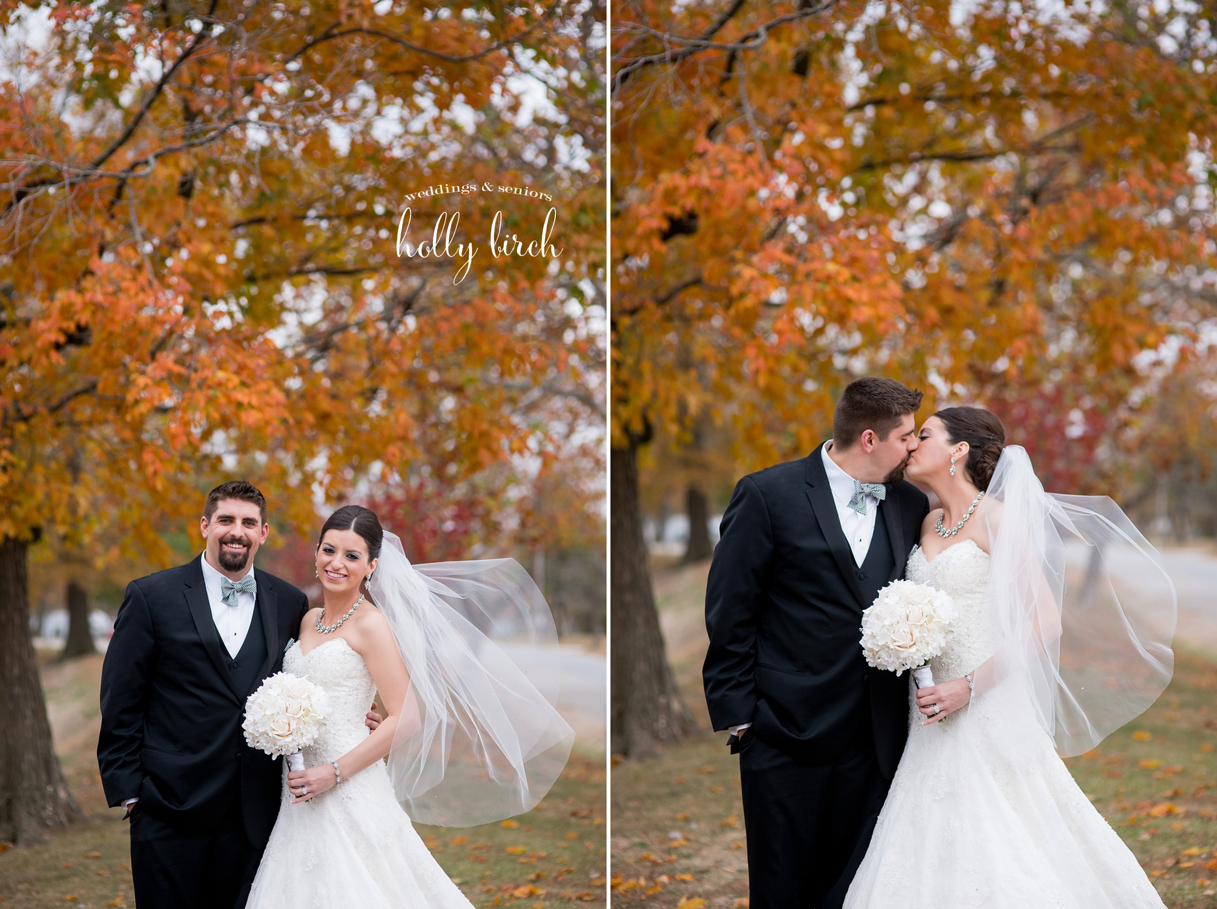 wedding with orange fall trees