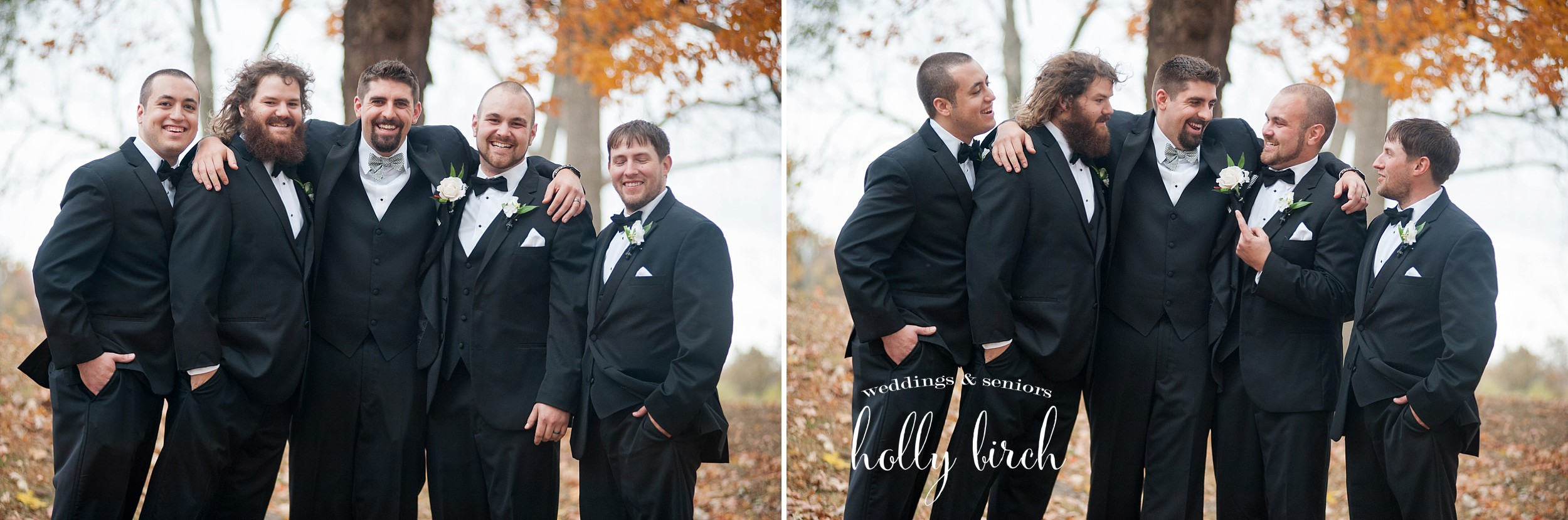groomsmen in park