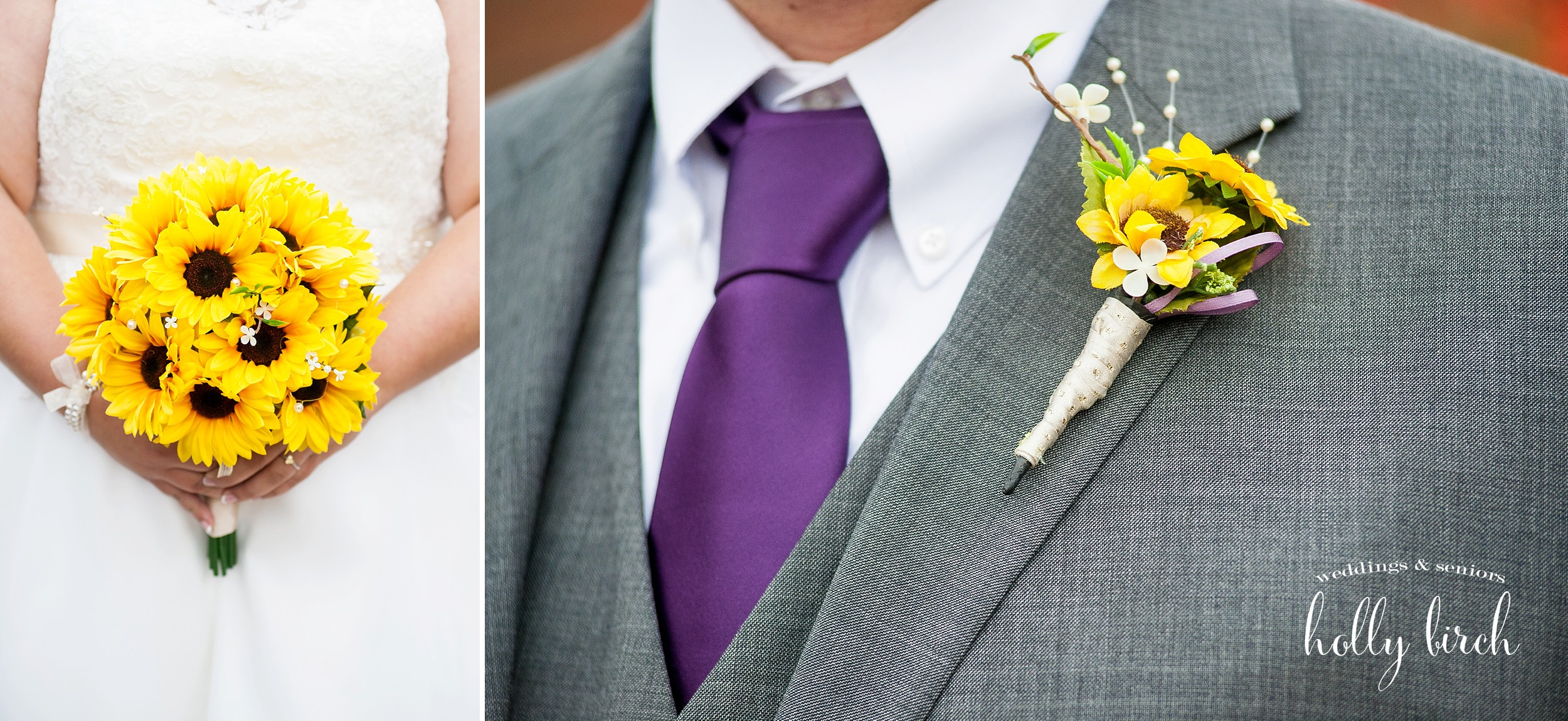 purple tie yellow wedding bouquet