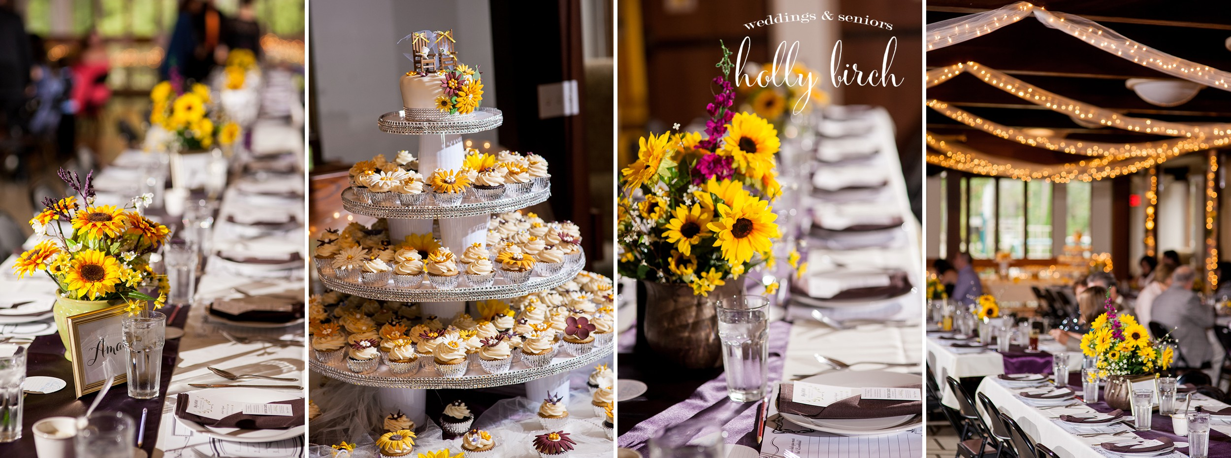 sunflower theme with cake and centerpieces